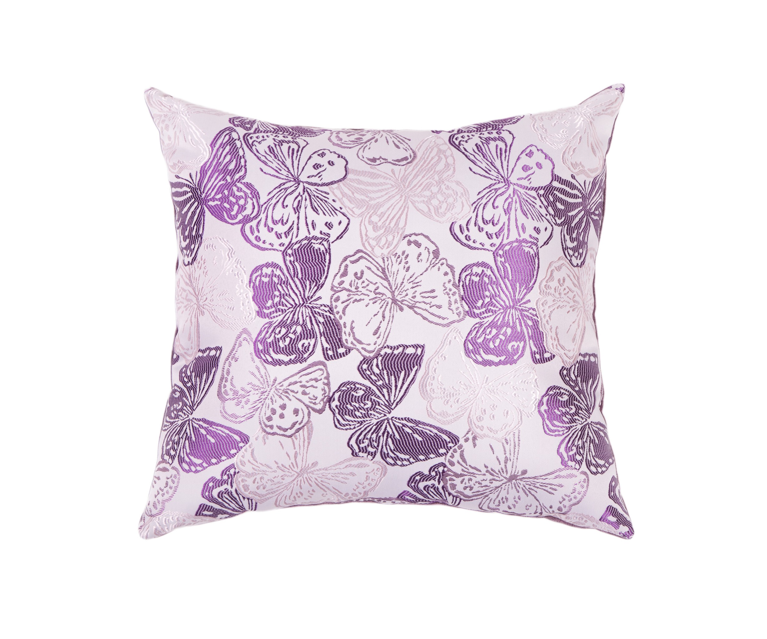 Подушка Фиалковые бабочкиКвадратные подушки и наволочки<br>Двусторонняя декоративная подушка &amp;quot;Фиалковые бабочки &amp;quot; станет ярким акцентом в вашем интерьере. На одной стороне принт с красочными бабочками сочно-фиолетовый и нежно-сиреневых тонов, на другой стороне - нежный велюр сделают пространство комнаты веселым и радостным.  Высококачественный материал приятен для кожи и безопасен даже для самой чувствительной кожи.  Оригинальный дизайнерский принт сделает пространство стильным и своеобразным.  Красивый рисунок на ткани станет ярким акцентом в вашем декоре.<br><br>Material: Текстиль<br>Length см: None<br>Width см: 55<br>Depth см: 10<br>Height см: 55