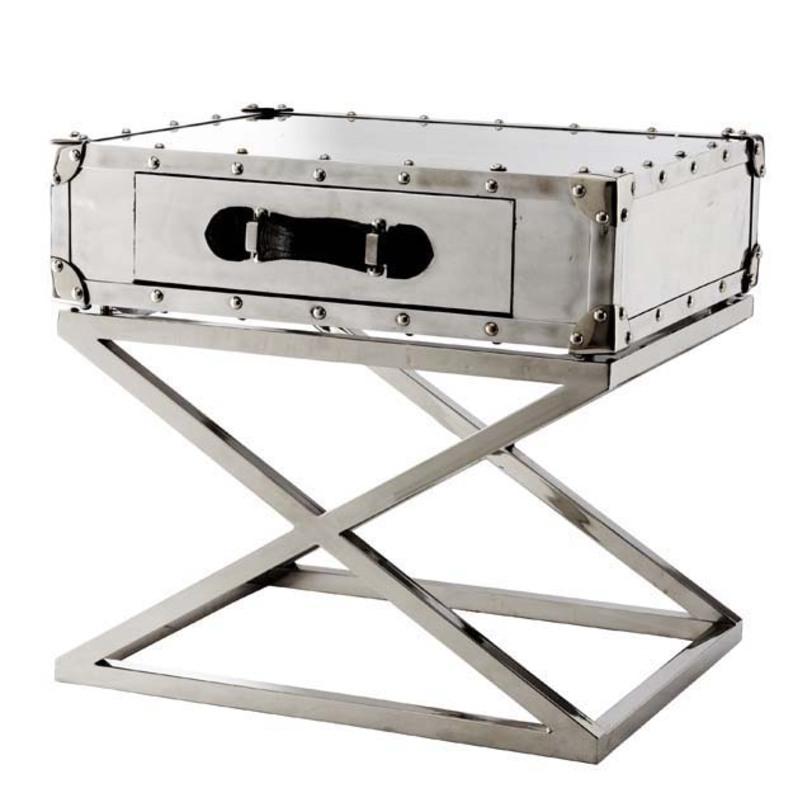 Приставной столик BarclayПриставные столики<br>Приставной столик-сундук с выдвижным ящиком, может располагаться в спальне в качестве прикроватной тумбочки. Ножки из алюминиевого профиля обеспечивают прочность и устойчивость и при этом легкость конструкции. По периметру столешница-чемодан декорирована металлическими заклепками. Такой столик идеально впишется в интерьеры в стиле лофт и хай-тек.<br>Материалы: алюминий, ручка выполнена из кожи<br><br>Material: Алюминий<br>Width см: 62<br>Depth см: 49<br>Height см: 57