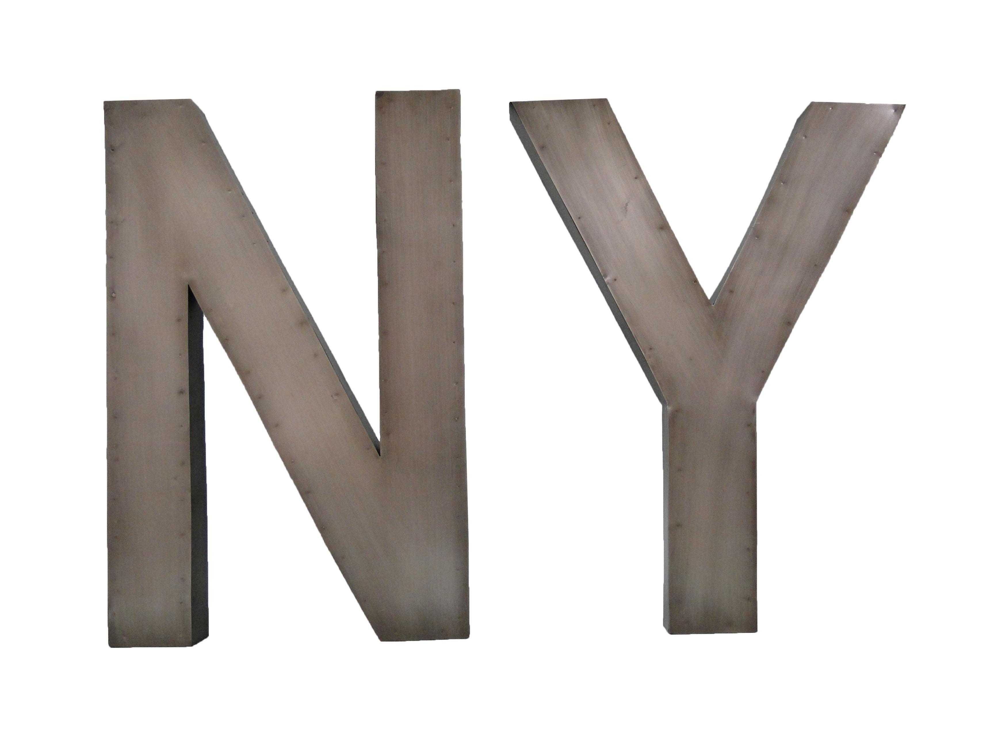 Набор букв NY (2 шт)Другое<br>Материал: оцинкованный металл<br><br>Material: Металл<br>Ширина см: 33<br>Высота см: 50<br>Глубина см: 4