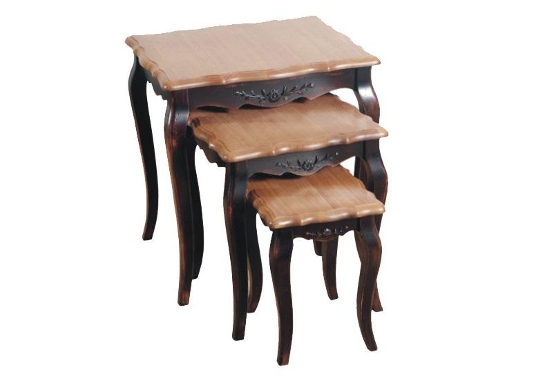 Комплект консольных столиковПриставные столики<br>&amp;lt;div&amp;gt;Этот комплект создан в романтичном стиле Прованс, который еще принято называть «французским кантри». Старинная мебель здесь является излюбленным элементом. &amp;amp;nbsp;И совсем необязательно доставать с чердака отслужившие свой век предметы. К примеру, эти столики выполнены в технике искусственного состаривания. Но выглядят так, как будто только что сошли с витрины антикварного магазина.&amp;amp;nbsp;&amp;lt;br&amp;gt;&amp;lt;/div&amp;gt;&amp;lt;div&amp;gt;&amp;lt;br&amp;gt;&amp;lt;/div&amp;gt;Размеры консолей:&amp;amp;nbsp;&amp;lt;div&amp;gt;56/48/59,&amp;amp;nbsp;&amp;lt;/div&amp;gt;&amp;lt;div&amp;gt;42/42/48,&amp;lt;/div&amp;gt;&amp;lt;div&amp;gt;34/28/37&amp;lt;/div&amp;gt;<br><br>Material: Дерево<br>Ширина см: 59<br>Высота см: 48<br>Глубина см: 56
