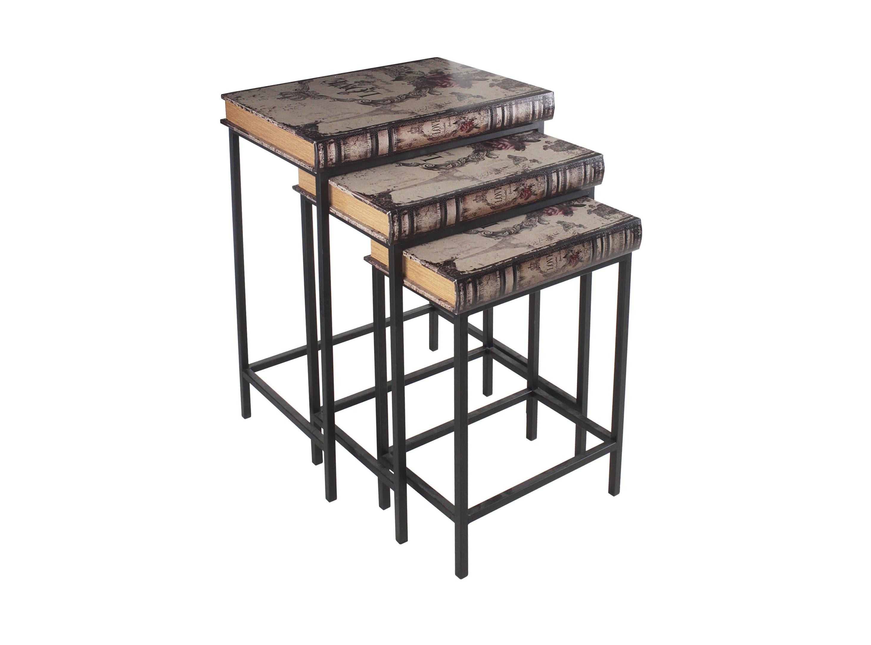 Набор столиков Sergio (3 шт)Приставные столики<br>Размеры:Большой - 50X38X71 cm;Средний - 44X31X64 cm;Маленький - 38.5X26.5X56 cm;Материалы: пихта, металл, кожа<br><br>kit: None<br>gender: None