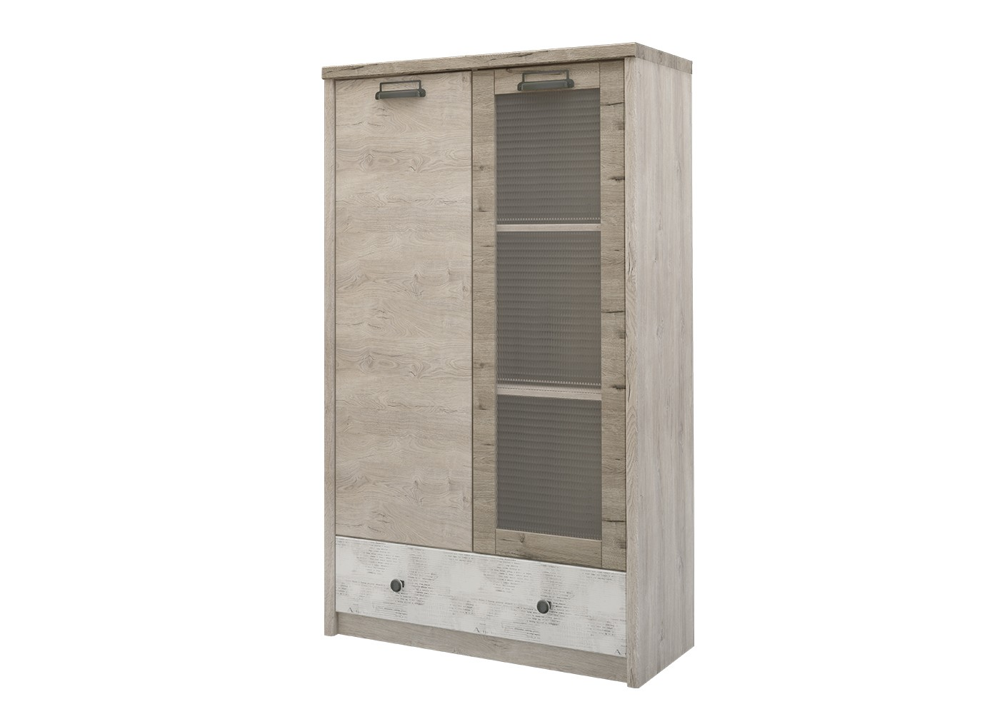 Шкаф DieselБельевые шкафы<br>Коллекция для молодежной комнаты DIESEL- это сочетание функциональности и уникальности дизайна. Характерные ручки в стиле &amp;quot;лофт&amp;quot;, вставки из рифленого стекла, используемого на фасадах витрин, оригинальное сочетание цветов фасадов - всё это дает возможность создать стильный и индивидуальный интерьер.&amp;amp;nbsp;<br><br>Material: ДСП<br>Width см: 85.8<br>Depth см: 36.2<br>Height см: 143.6