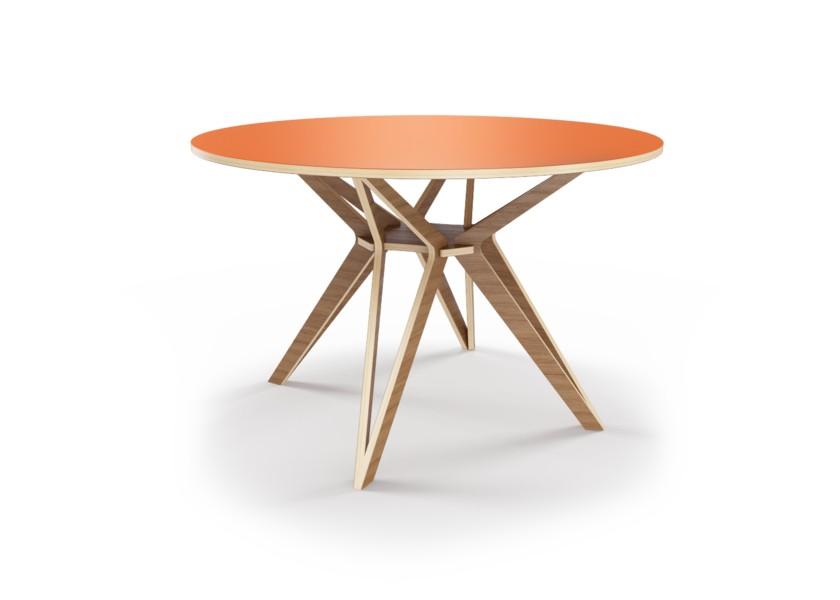 Стол HagforsОбеденные столы<br>Hagfors – это стол, необычный дизайн которого создаст изящный акцент в вашем интерьере. Окрас столешницы в морковный цвет, отделка подстолья шпоном ореха.&amp;amp;nbsp;&amp;lt;div&amp;gt;&amp;lt;br&amp;gt;&amp;lt;/div&amp;gt;&amp;lt;div&amp;gt;Возможен в диаметрах 60, 90, 100, 120 и 148см.&amp;lt;/div&amp;gt;<br><br>Material: Фанера<br>Height см: 75<br>Diameter см: 90
