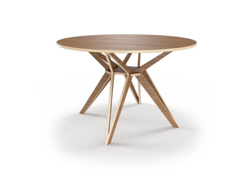 Стол HagforsОбеденные столы<br>Hagfors – это стол, необычный дизайн которого создаст изящный акцент в вашем интерьере. Отделка шпоном ореха. Сборка не требуется. Возможен в диаметрах 60, 90, 100, 120 и 148см.<br><br>Material: Фанера<br>Height см: 75<br>Diameter см: 90
