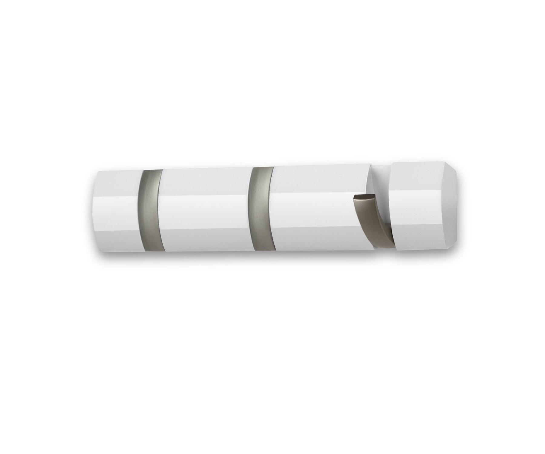 Вешалка настенная горизонтальная FlipВешалки<br>Стильная и прочная  вешалка интересной формы. Имеет 3 откидных крючка из никеля: когда они не используются, то складываются, превращая конструкцию в абсолютно гладкую поверхность. Идеально для маленьких прихожих и ограниченных пространств. <br>Каждый крючок выдерживает вес до 2,3 кг.<br><br>Material: Металл<br>Ширина см: 33<br>Высота см: 7<br>Глубина см: 4