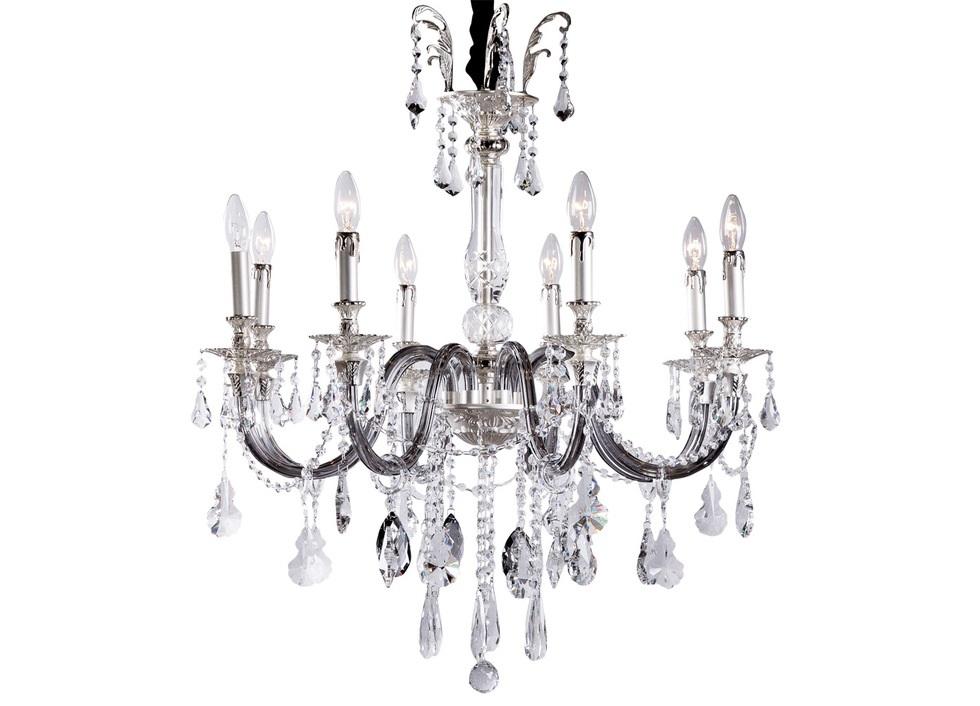 ЛюстраЛюстры подвесные<br>Серебристое основание лампы одето в прозрачное и темное стекло. Многочисленные подвесы на длинных гирляндах служат дополнительным украшением. Светильник рассчитан на 8 ламп с цоколем Е14.<br><br>Material: Металл<br>Length см: 80<br>Width см: 80<br>Height см: 84