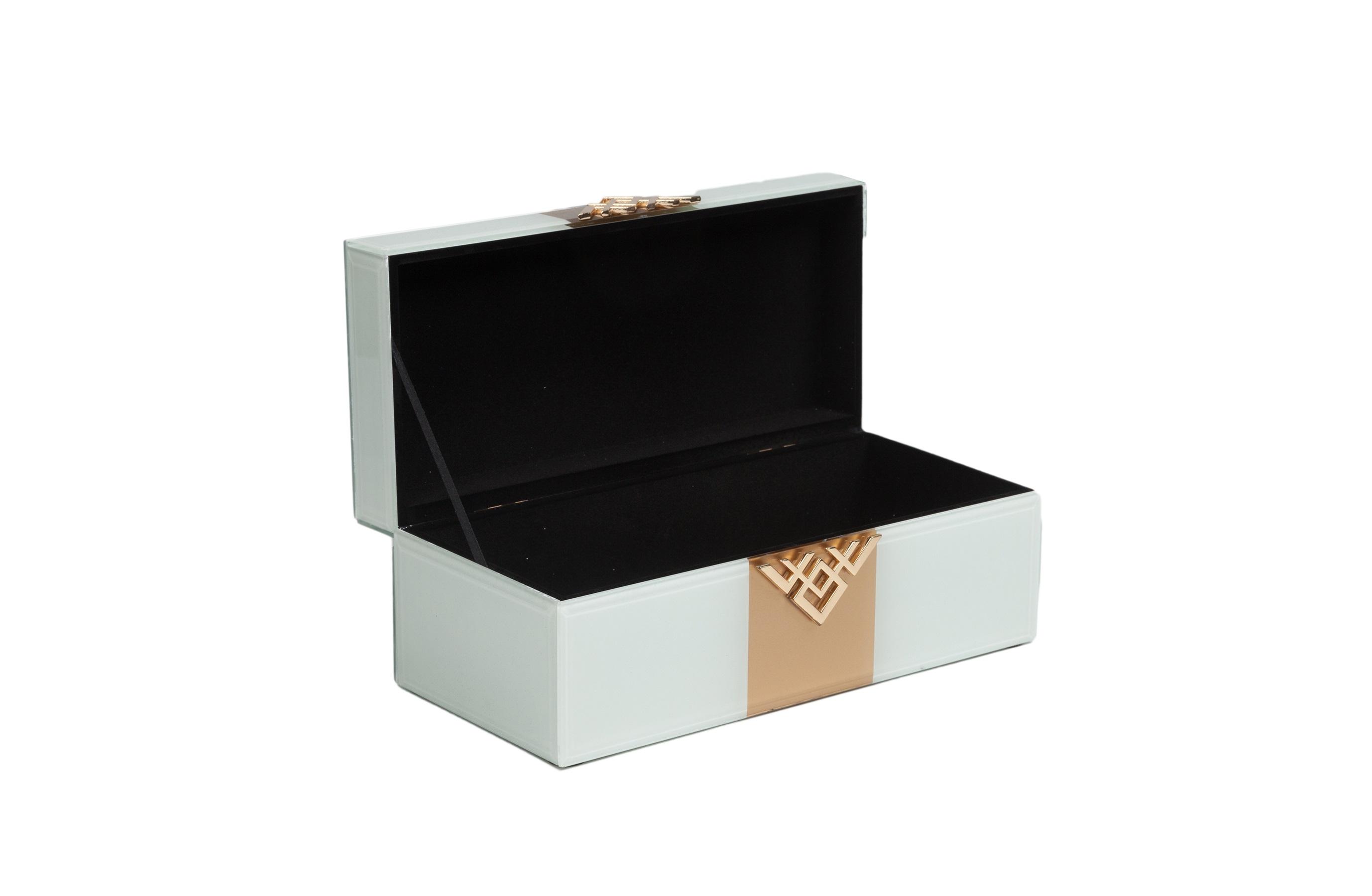 Коробка для ювелирных украшений AkoniКоробки<br>Материал: МДФ, Стекло<br><br>Material: МДФ<br>Length см: None<br>Width см: 13<br>Depth см: 27<br>Height см: 10