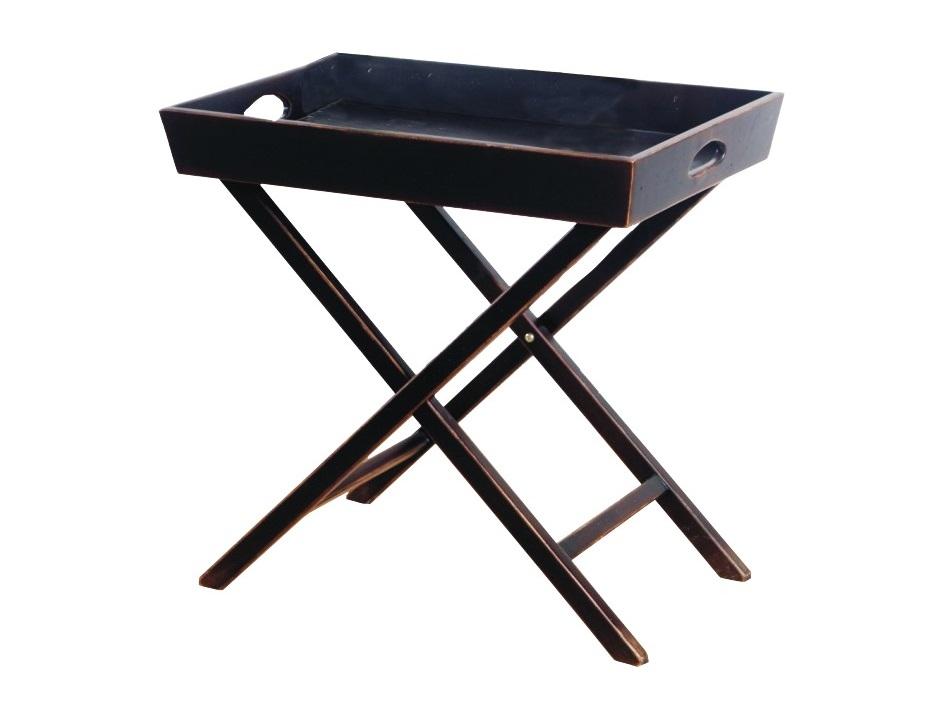 Раскладной столикСервировочные столики<br>При виде этого столика возникают ассоциации с романтичным завтраком на загородной террасе. Наслаждаться этими прекрасными образами вы сможете хоть каждый день, установив его у себя в столовой, спальне или кабинете. Если вы предпочитаете жить в мегаполисе, но не можете без деревенского уюта, то рекомендуем дополнить им балкон ? так вы создадите &amp;quot;веранду&amp;quot; прямо в границах городских апартаментов. Простой силуэт, натуральная древесина и патинирование привнесут настроение прованса и в ваш дом.<br><br>Material: Дерево<br>Length см: 61<br>Width см: 41<br>Height см: 60
