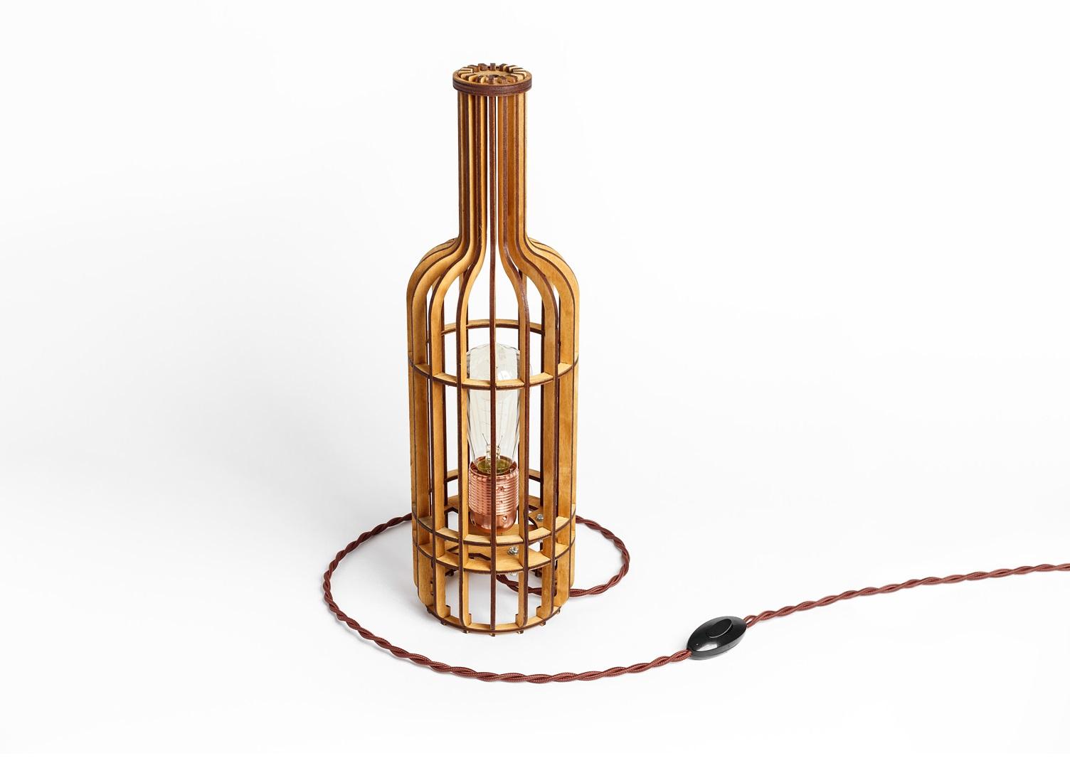 Деревянный светильник Бутылка ВинаДекоративные лампы<br>Деревянный светильник в стиле Лофт. Поставляется в собранном виде.&amp;amp;nbsp;&amp;lt;div&amp;gt;&amp;lt;br&amp;gt;&amp;lt;/div&amp;gt;&amp;lt;div&amp;gt;&amp;lt;div&amp;gt;Вид цоколя: E27&amp;lt;/div&amp;gt;&amp;lt;div&amp;gt;Мощность: 60W&amp;lt;/div&amp;gt;&amp;lt;div&amp;gt;Количество ламп: 1 (нет в комплекте)&amp;lt;/div&amp;gt;&amp;lt;/div&amp;gt;<br><br>Material: Дерево<br>Высота см: 44