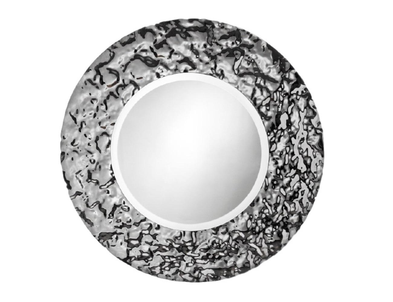 Зеркало Круг AquaНастенные зеркала<br>Зеркало уже не может быть просто зеркалом, если его обрамлением является авторская работа братьев Фомичевых. Такое круглое зеркало в необычной рамке, способно украсить даже самый тусклый интерьер. Это полноценный арт-объект. Внушительные размеры, безупречный блеск стекла — в таком зеркале смотреть на свое отражение сплошное удовольствие.    Обрамление зеркала имитирует поверхность воды, застывшую на долю секунды .  Зеркало в собранном виде и в комплекте есть крепления.<br><br>Material: Стекло<br>Высота см: 5