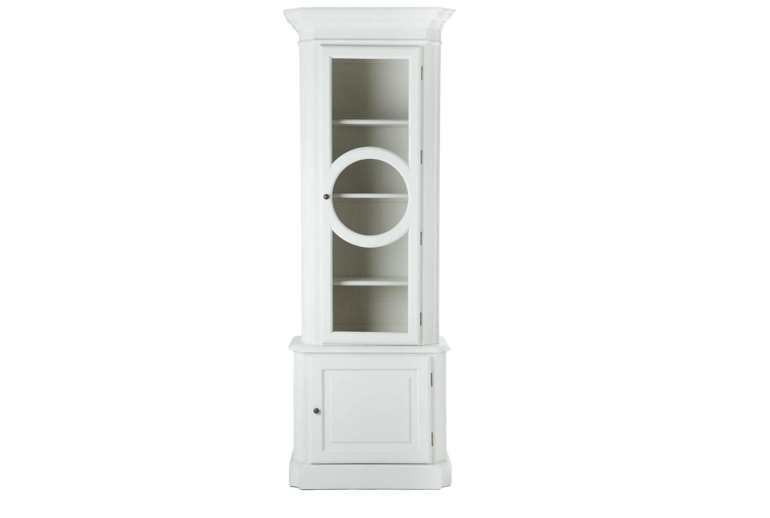 ВитринаВитрины<br>Витрина белого цвета из массива березы с декорированной дверцей.<br><br>Material: Береза<br>Width см: 82<br>Depth см: 45<br>Height см: 230