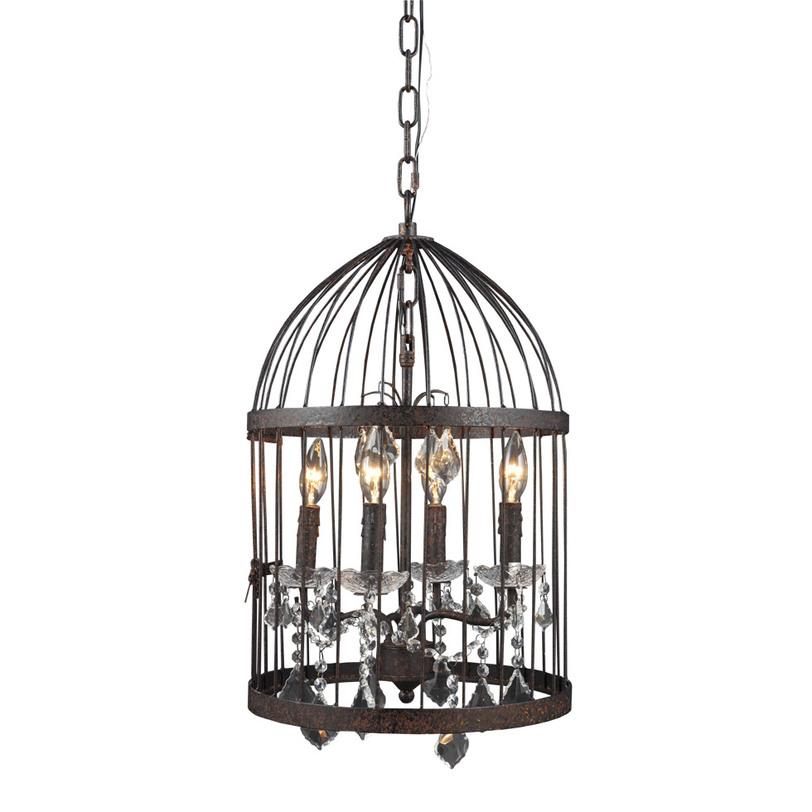 Подвесная люстра CRYSTAL CHANDELIERЛюстры подвесные<br>&amp;lt;div&amp;gt;Подвесная интерьерная люстра в американском стиле моментально привлечет внимание и восхищенные взгляды. Шикарный канделябр с подвесками и лампами в форме свечей окутан абажуром в виде клетки для птиц.&amp;lt;/div&amp;gt;&amp;lt;div&amp;gt;&amp;lt;br&amp;gt;&amp;lt;/div&amp;gt;&amp;lt;div&amp;gt;Вид цоколя: E14&amp;lt;/div&amp;gt;&amp;lt;div&amp;gt;Мощность: &amp;amp;nbsp;40W&amp;lt;/div&amp;gt;&amp;lt;div&amp;gt;Количество ламп: 4 (нет в комплекте)&amp;lt;/div&amp;gt;<br><br>Material: Металл<br>Ширина см: 35<br>Высота см: 57<br>Глубина см: 35