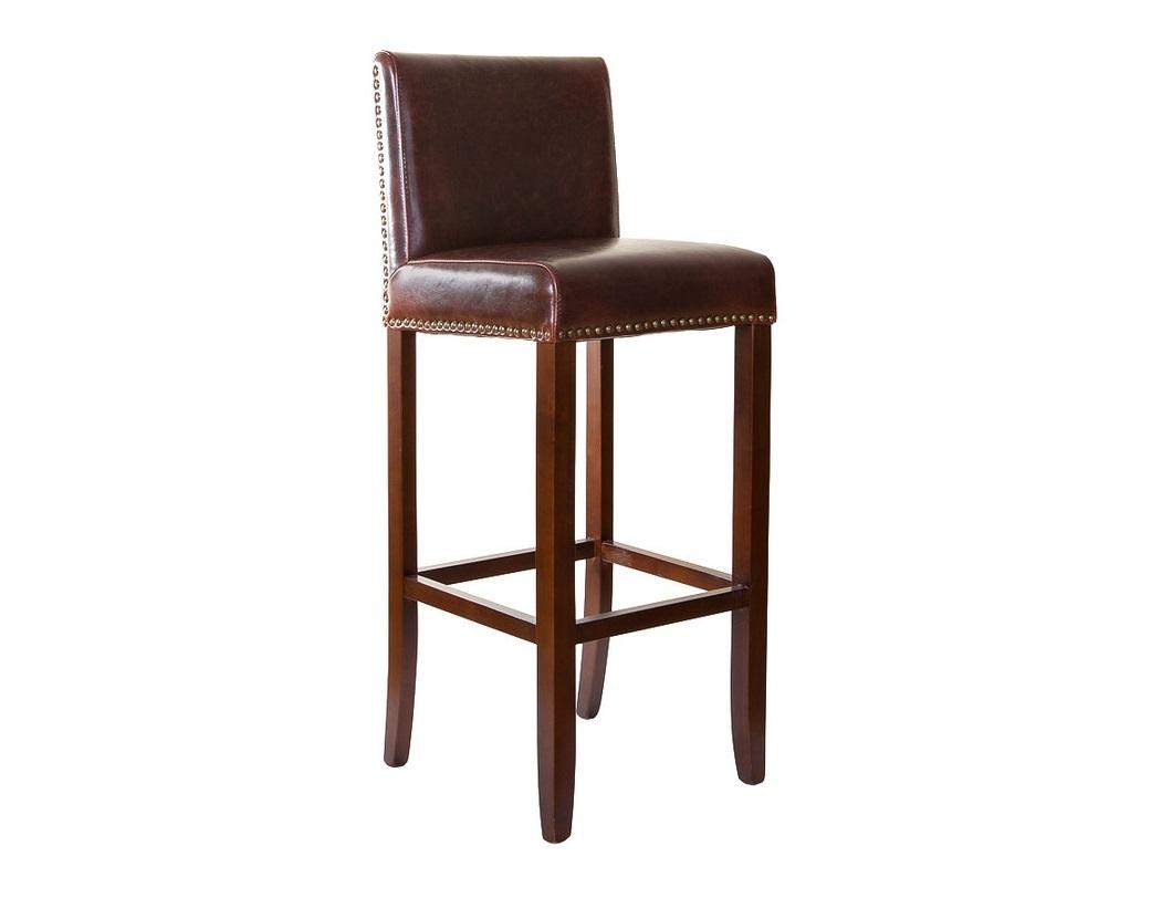 Стул барныйБарные стулья<br>Классический барный стул. Строгий и стройный карказ из массива березы. Спинка и сиденье обиты толстой кожей темно-коричневого цвета и украшены по периметру мебельными гвоздиками с блестящими шляпками.<br>Высота сиденья 81 см<br><br>Material: Кожа<br>Ширина см: 40<br>Высота см: 107<br>Глубина см: 43