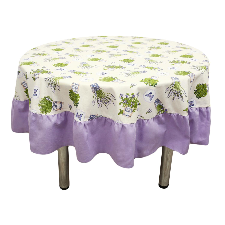 Набор из скатерти и 6 салфеток ЛавандаСкатерти<br>Скатерть создаст за столом торжественно- праздничную, но в то же время тёплую и уютную атмосферу. Эстетичный и функциональный аксессуар превратит любой обед в маленькое событие. Изысканный узор внесёт благородную изысканность в столовое пространство. Плотная хлопковая ткань легко стирается и не изнашивается. Обедайте красиво!<br><br>Material: Хлопок<br>Diameter см: 185