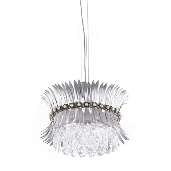 Светильник LeafПодвесные светильники<br>Подвесной светильник из хрусталя и фольгированных деталей повторяет форму цветка. Хрустальные подвески отражают серебристый цвет абажура, озаряя пространство холодным свечением будущего.<br><br>Длина подвеса: 150 см.<br>Мощность: 2X MAX 60W E14<br><br>Material: Металл<br>Ширина см: 37.0<br>Высота см: 28.0