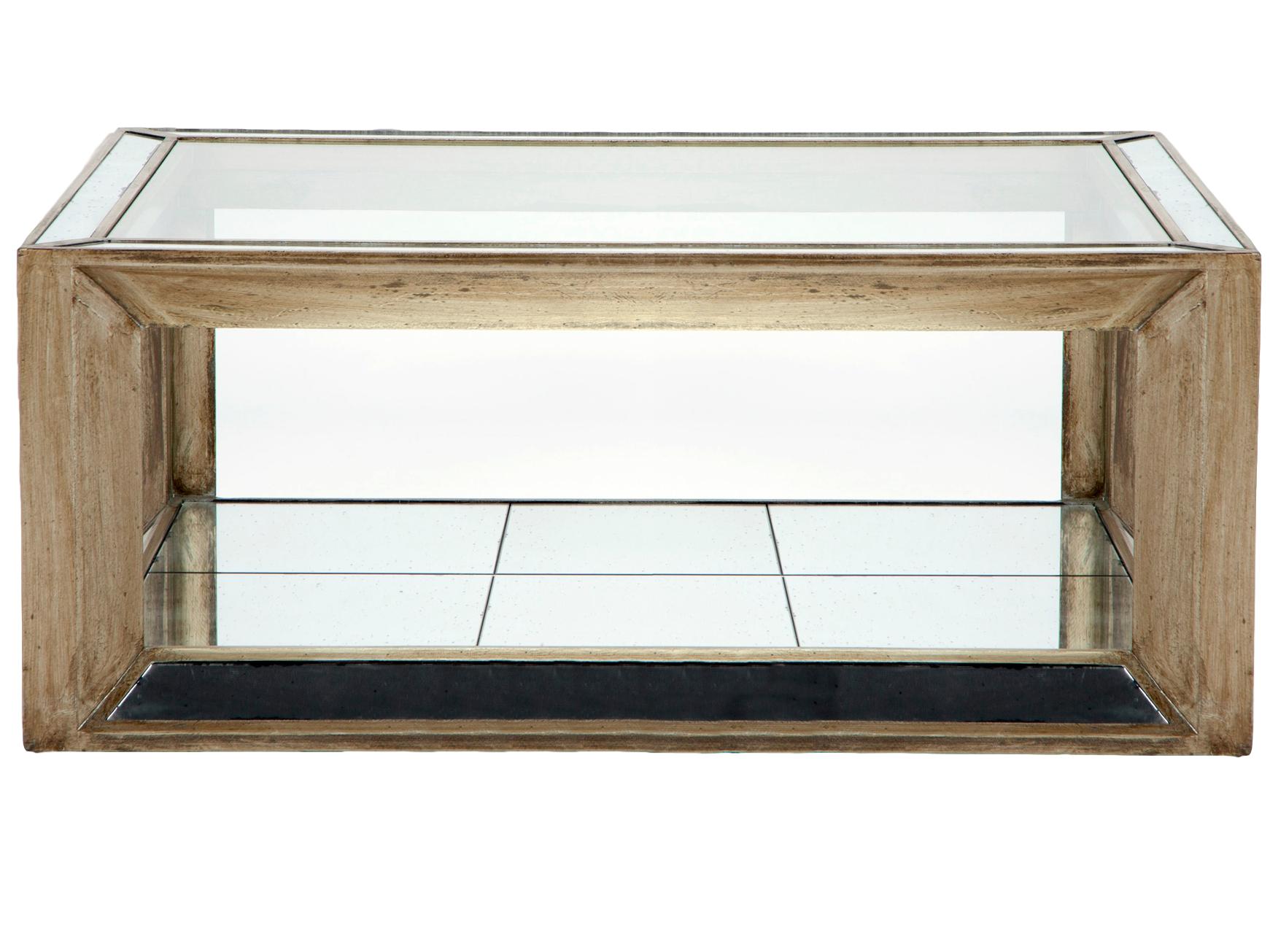 Стол кофейныйКофейные столики<br>Стол кофейный прямоугольный, декорирован вставками из зеркал. Столешница из прозрачного стекла.<br><br>Material: Стекло<br>Length см: None<br>Width см: 130<br>Depth см: 90<br>Height см: 52