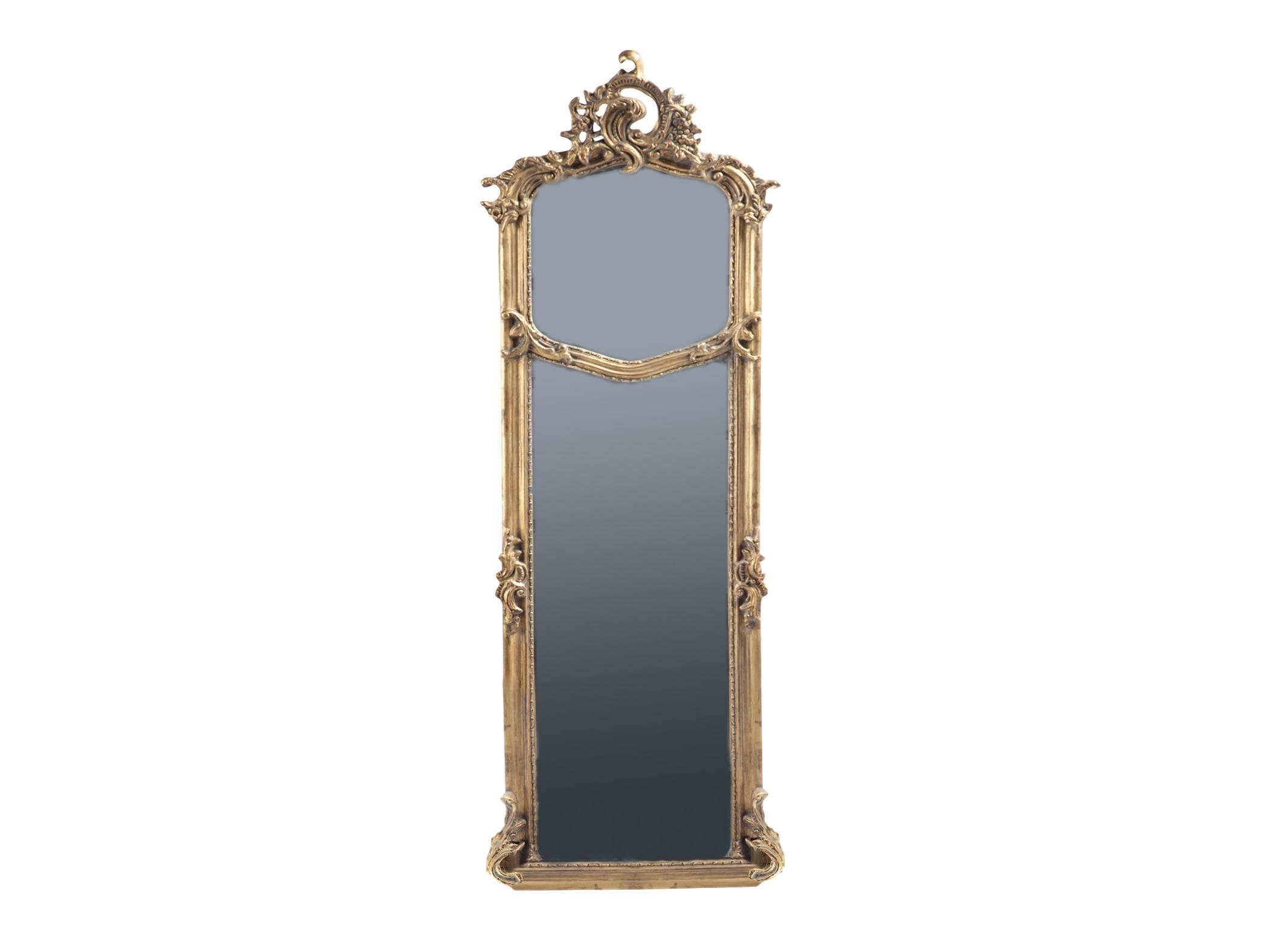 ЗеркалоНастенные зеркала<br>Узкое зеркало в состаренной золотой раме из дерева,декорированной резьбой ручной работы и патиной.<br><br>Material: Дерево<br>Ширина см: 59<br>Высота см: 180