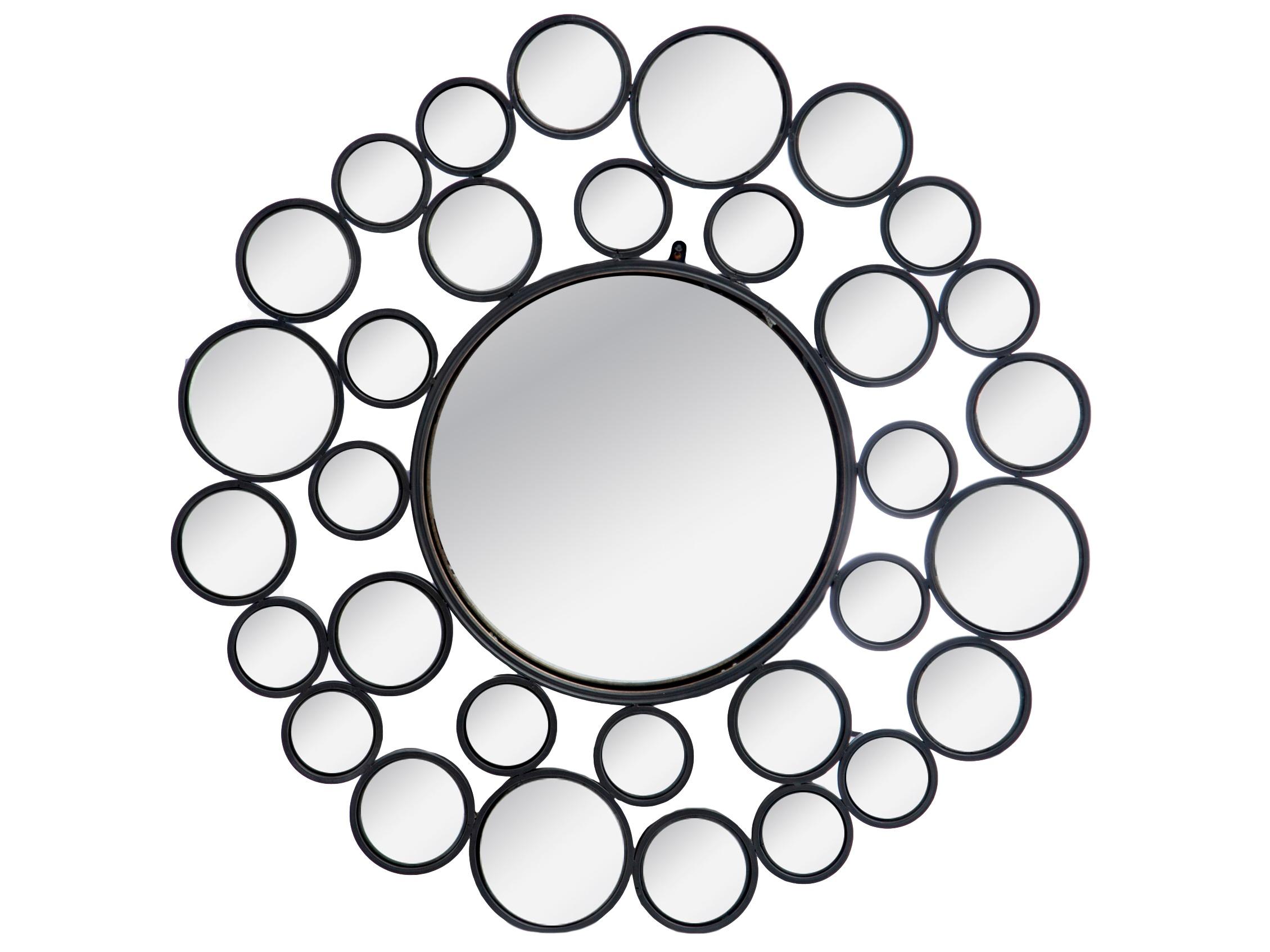 ЗеркалоНастенные зеркала<br>Настенный зеркальный декор, состоящий из нескольких выпуклых зеркальных поверхностей, в черных круглых рамках.<br><br>Material: Металл<br>Depth см: 3<br>Diameter см: 95