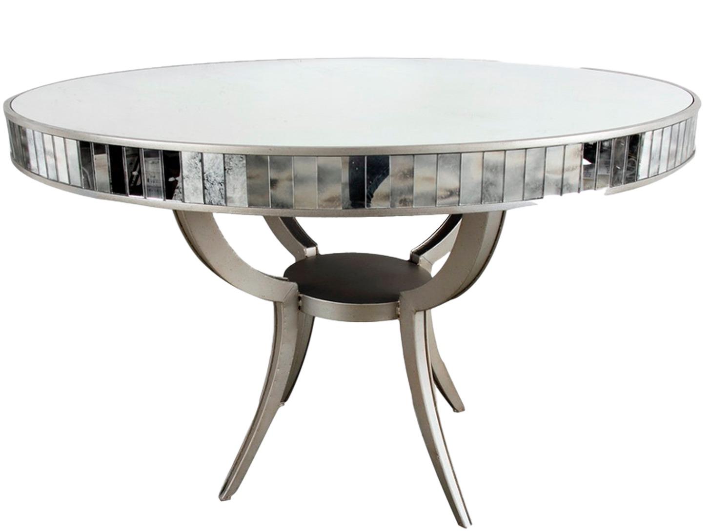 Стол обеденныйОбеденные столы<br>Стол обеденный круглый на металлическом основании, столешница из зеркала, декорирована зеркальными вставками.<br><br>Material: Стекло<br>Width см: None<br>Depth см: None<br>Height см: 82<br>Diameter см: 122