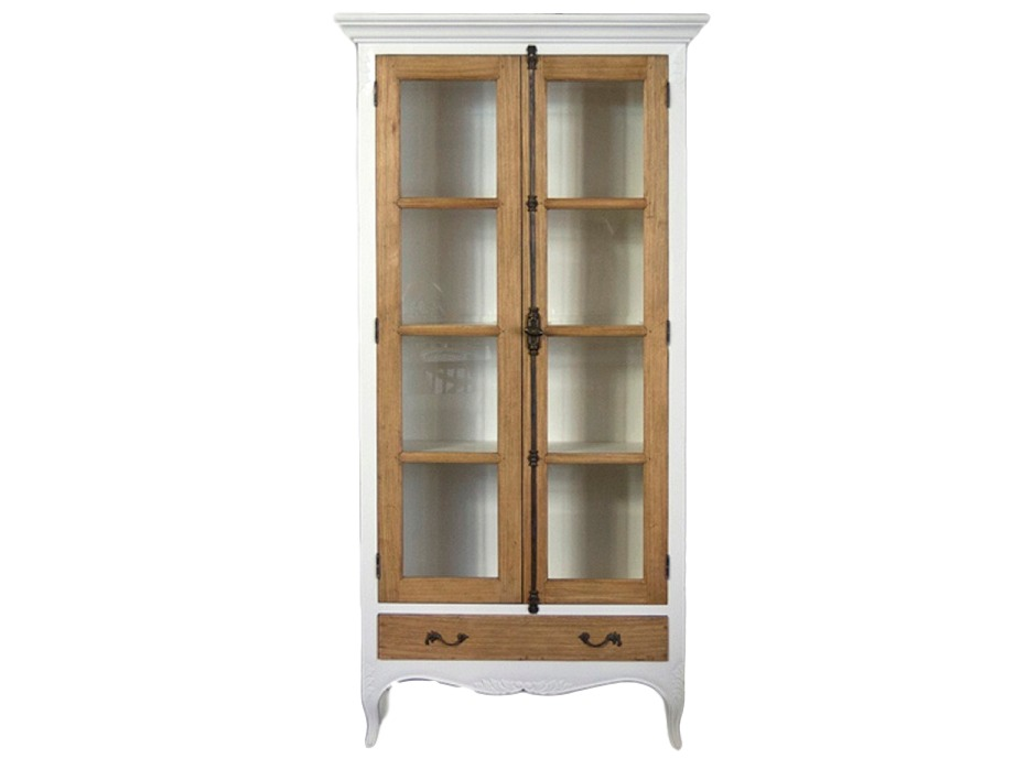 Витрина ФилимонВитрины<br>Шкаф со стеклянными дверцами. Дверцы и выдвижной ящик украшены вставками из дерева минди.<br><br>Material: Дерево<br>Width см: 105<br>Depth см: 39<br>Height см: 205