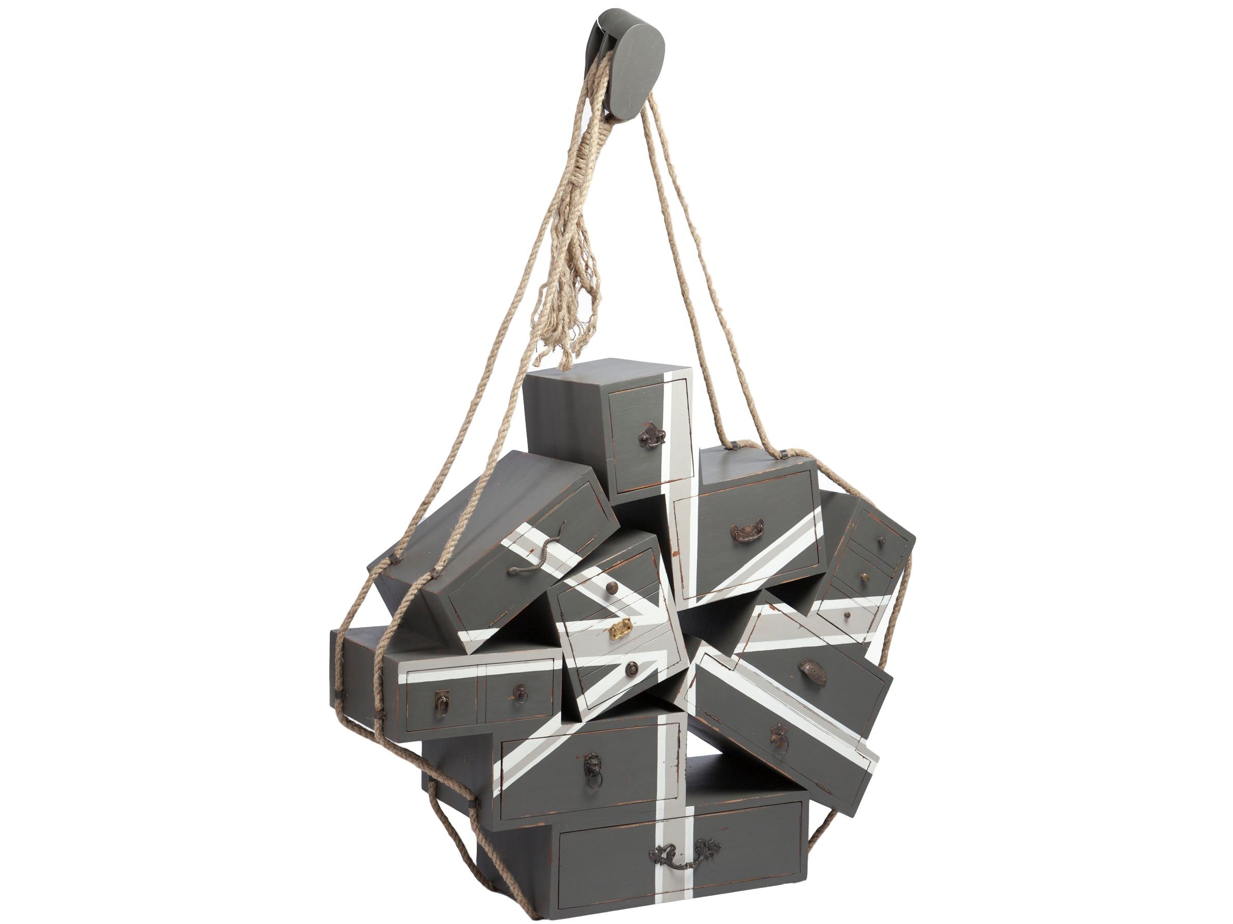 КомодПрикроватные тумбы<br>Комод оригинального дизайна из дерева махагони,украшен ручной росписью (&amp;quot;Флаг&amp;quot;) и декоративной фурнитурой.Ящики комода подвешаны на веревке,веревку необходимо закрепить на стене.<br><br>Material: Дерево<br>Width см: 143<br>Depth см: 40<br>Height см: 115