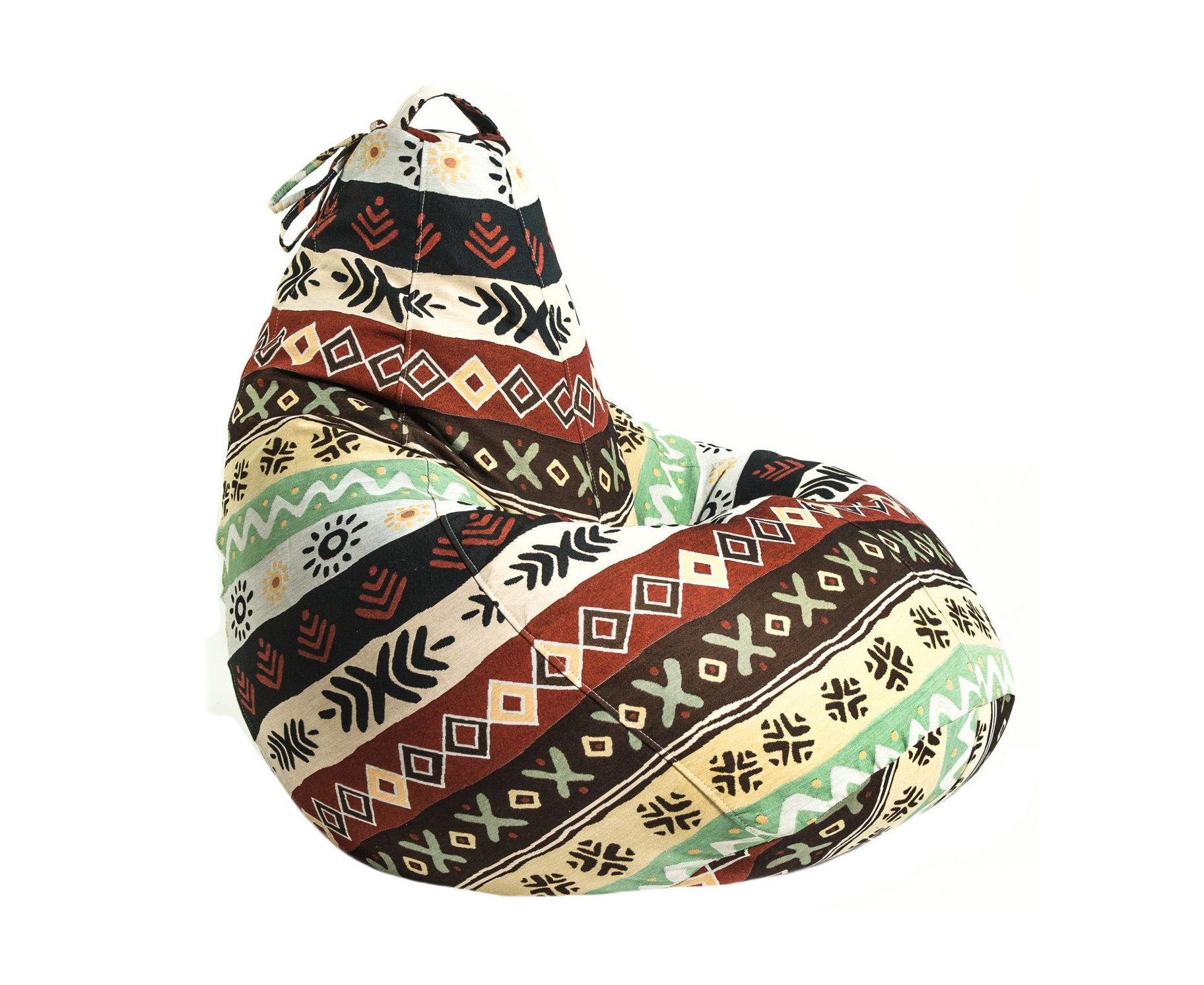 Бескаркасное креслоКресла-мешки<br>Бескаркасное кресло-мешок Boss - это кресло большого размера, которое хорошо поддерживает спину и плечи. Это делает кресло удобным для отдыха. Ткань - гобелен с самобытным этническим рисунком.&amp;amp;nbsp;<br><br>Material: Текстиль<br>Height см: 150<br>Diameter см: 95