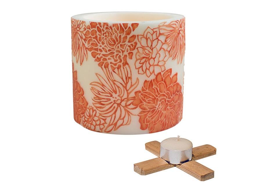 Абажур Chrysanthemum со свечойПодсвечники<br>Абажур Chrysanthemum, ручная работа, свеча с подставкой в комплекте..<br><br>Material: Воск<br>Height см: 15<br>Diameter см: 15