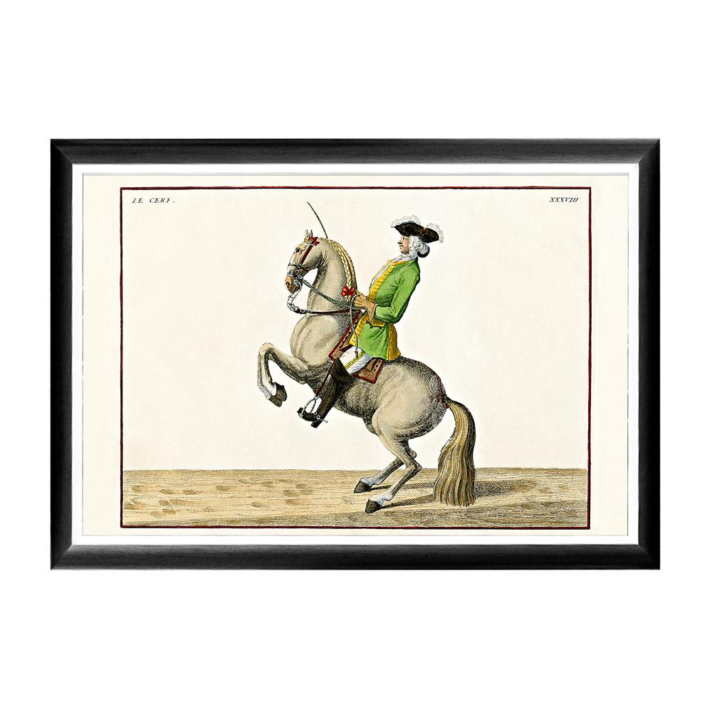 Репродукция Верховая езда, Урок № 11Картины<br>Кавалерист французской армии, изображенный на гравюре &amp;quot;Верховая езда, Урок № 11&amp;quot;, демонстрирует зрителям элемент высшей школы верховой езды под названием &amp;quot;пезада&amp;quot;. Исторические гравюры богаты цветовой энергией, позитивными эмоциями и светлым настроением, столь желанными нашей повседневной домашней атмосфере. Контрастная черно-белая рама внушает цветной гравюре особую выразительность. Изображение защищено стеклопластиком, стойким к микроцарапинам и помутнению.&amp;lt;div&amp;gt;&amp;lt;br&amp;gt;&amp;lt;/div&amp;gt;&amp;lt;div&amp;gt;Материал: рама - багет из полистирола, защитный слой - прозрачный пластик, изображение – дизайнерская бумага&amp;lt;br&amp;gt;&amp;lt;/div&amp;gt;<br><br>Material: Бумага<br>Ширина см: 66<br>Высота см: 45<br>Глубина см: 2