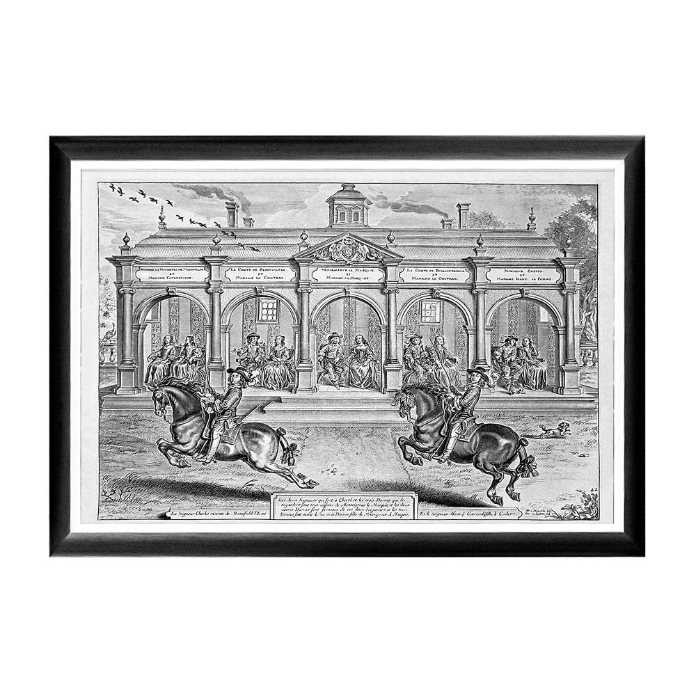 Арт-постер «Новейший метод конного искусства», гравюра 5Постеры<br>Арт-постер «Новейший метод конного искусства» представляет репродукцию гравюры XVII века, принадлежащую фламандскому художнику и графику Абрахаму ван Дипенбеку (1596-1675). Постеры в грациозных рамах незаменимы для узких пространств, простенков между дверьми или окнами, для торца длинного коридора и посреди предметов мебели. Изображение защищено стеклопластиком, стойким к микроцарапинам и помутнению.&amp;lt;div&amp;gt;&amp;lt;br&amp;gt;&amp;lt;/div&amp;gt;&amp;lt;div&amp;gt;Материал: рама - багет из полистирола, защитный слой - прозрачный пластик, изображение – дизайнерская бумага&amp;lt;br&amp;gt;&amp;lt;/div&amp;gt;<br><br>Material: Бумага<br>Width см: 66<br>Depth см: 2<br>Height см: 45