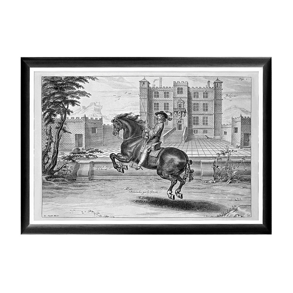 Арт-постер «Уильям Кавендиш», сюжет 1Постеры<br>Арт-постер  посвящен Уильяму Кавендишу (1592-1676), - бывшему Герцогу Ньюкасл и полководцу времен Гражданской войны, который прославился собственными новейшими методами верховой езды. Герцог изображен на фоне замка Болсовер в английском графстве Дербишир. Этот постер  будет уместен на стене над диваном или кроватью, около обеденного стола, в торце коридора или даже на лестнице. Контрастная черно-белая рама внушает однотонным гравюрам особую выразительность. Изображение защищено стеклопластиком, стойким к микроцарапинам и помутнению.&amp;lt;div&amp;gt;&amp;lt;br&amp;gt;&amp;lt;/div&amp;gt;&amp;lt;div&amp;gt;Материал: рама - багет из полистирола, защитный слой - прозрачный пластик, изображение – дизайнерская бумага&amp;lt;br&amp;gt;&amp;lt;/div&amp;gt;<br><br>Material: Бумага<br>Width см: 66<br>Depth см: 2<br>Height см: 45