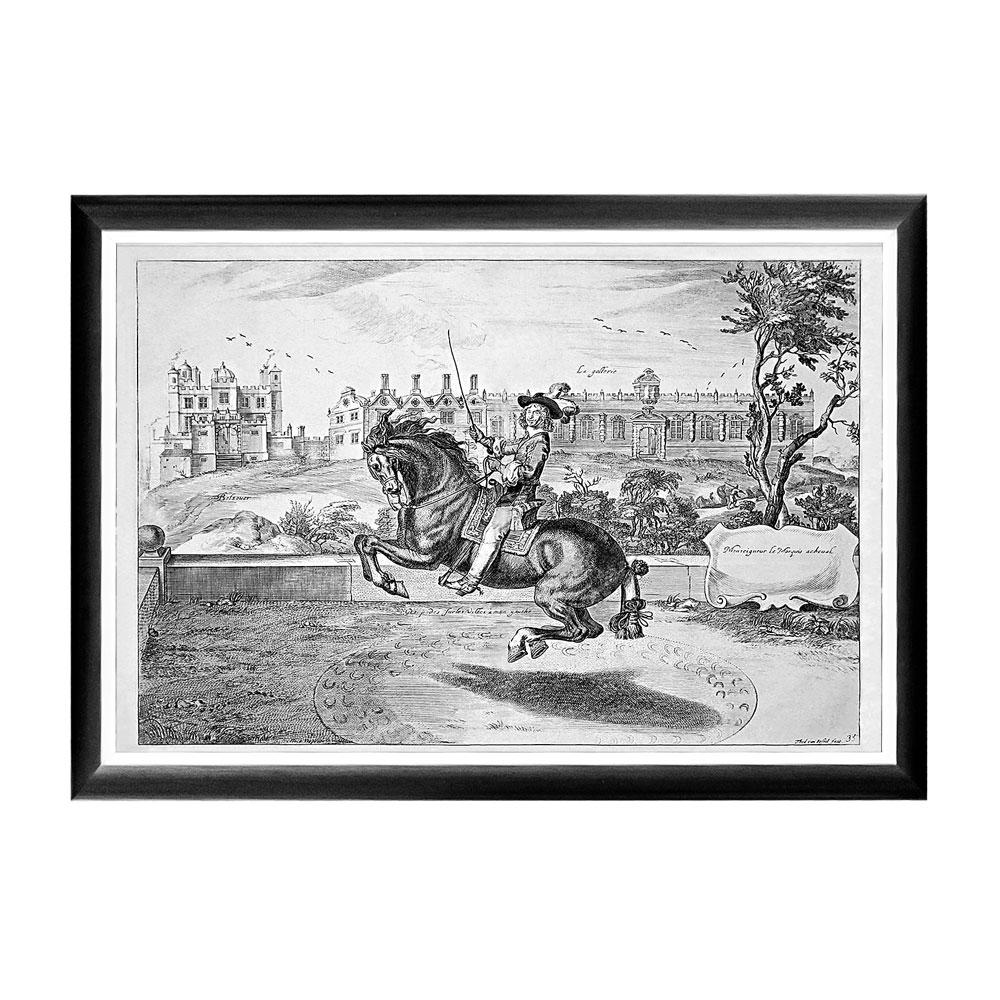 Арт-постер «Уильям Кавендиш», сюжет 2Постеры<br>Арт-постер  посвящен Уильяму Кавендишу (1592-1676), - бывшему Герцогу Ньюкасл и полководцу времен Гражданской войны, который прославился собственными новейшими методами верховой езды.  Этот постер  будет уместен на стене над диваном или кроватью, около обеденного стола, в торце коридора или даже на лестнице. Контрастная черно-белая рама внушает однотонным гравюрам особую выразительность. Изображение защищено стеклопластиком, стойким к микроцарапинам и помутнению.<br><br>Material: Бумага<br>Width см: 66<br>Depth см: 2<br>Height см: 45
