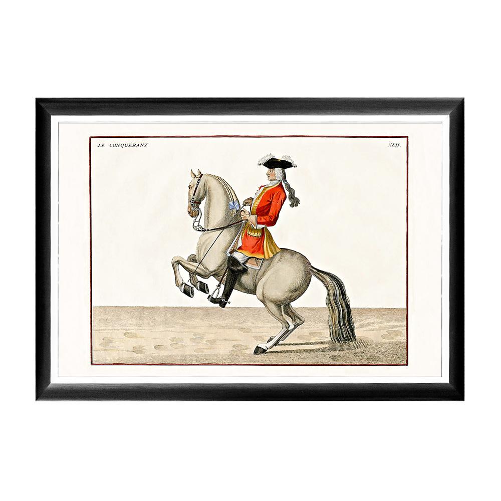 Арт-постер «Верховая езда, Урок № 3»Постеры<br>Кавалерист французской армии, позирующий на арт-постере &amp;quot;Верховая езда, Урок №3&amp;quot;, демонстрирует элемент высшей верховой езды под названием &amp;quot;крупада&amp;quot; (франц.: croupade). Этот постер будет уместен на стене над диваном или кроватью, около обеденного стола, в торце коридора или даже на лестнице. Контрастная черно-белая рама внушает цветной гравюре особую выразительность. Изображение защищено стеклопластиком, стойким к микроцарапинам и помутнению.&amp;lt;div&amp;gt;&amp;lt;br&amp;gt;&amp;lt;/div&amp;gt;&amp;lt;div&amp;gt;Материал: рама - багет из полистирола, защитный слой - прозрачный пластик, изображение – дизайнерская бумага&amp;lt;br&amp;gt;&amp;lt;/div&amp;gt;<br><br>Material: Бумага<br>Width см: 66<br>Depth см: 2<br>Height см: 45