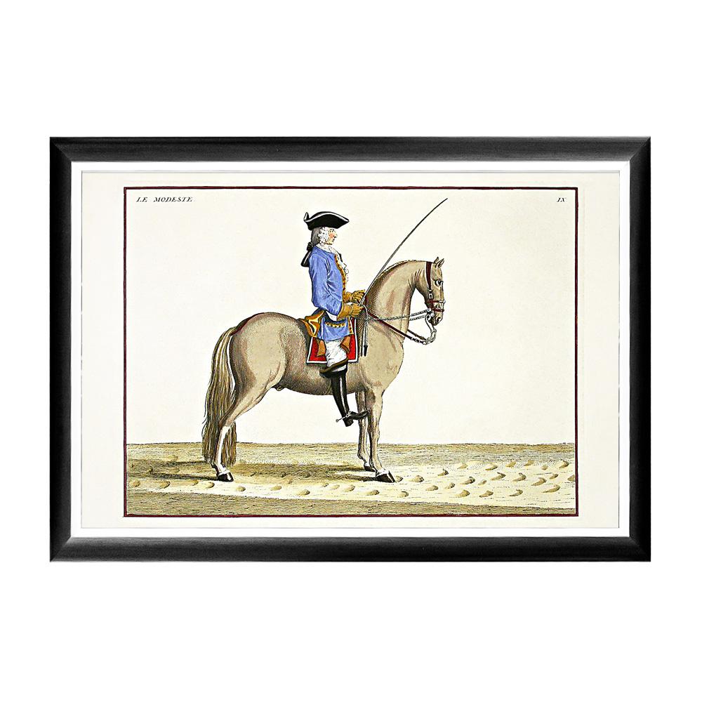 Репродукция Верховая езда, Урок № 6Картины<br>Кавалерист французской армии, позирующий на постере &amp;quot;Верховая езда, Урок № 6&amp;quot;, демонстрирует публике элемент классической школы верховой езды – манежное упражнение &amp;quot;остановка&amp;quot;. Грациозная, визуально невесомая черно-белая рама феноменально гармонична любому интерьерному жанру. Теплые тона и интригующие приключенческие сюжеты озарят Ваши пространства светлой эмоциональной атмосферой. Изображение защищено стеклопластиком, стойким к микроцарапинам и помутнению.&amp;lt;div&amp;gt;&amp;lt;br&amp;gt;&amp;lt;/div&amp;gt;&amp;lt;div&amp;gt;Материал: рама - багет из полистирола, защитный слой - прозрачный пластик, изображение – дизайнерская бумага&amp;lt;br&amp;gt;&amp;lt;/div&amp;gt;<br><br>Material: Бумага<br>Ширина см: 66.0<br>Высота см: 45.0<br>Глубина см: 2.0