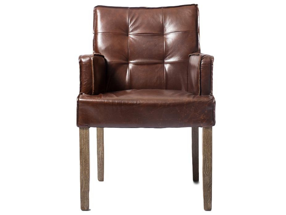 Кресло StefaniКожаные кресла<br>Рабочее кресло из натуральной кожи коричнего цвета, каркас выполнен из массива дуба.<br><br>Material: Кожа<br>Length см: 0<br>Width см: 57<br>Depth см: 58<br>Height см: 90<br>Diameter см: 0