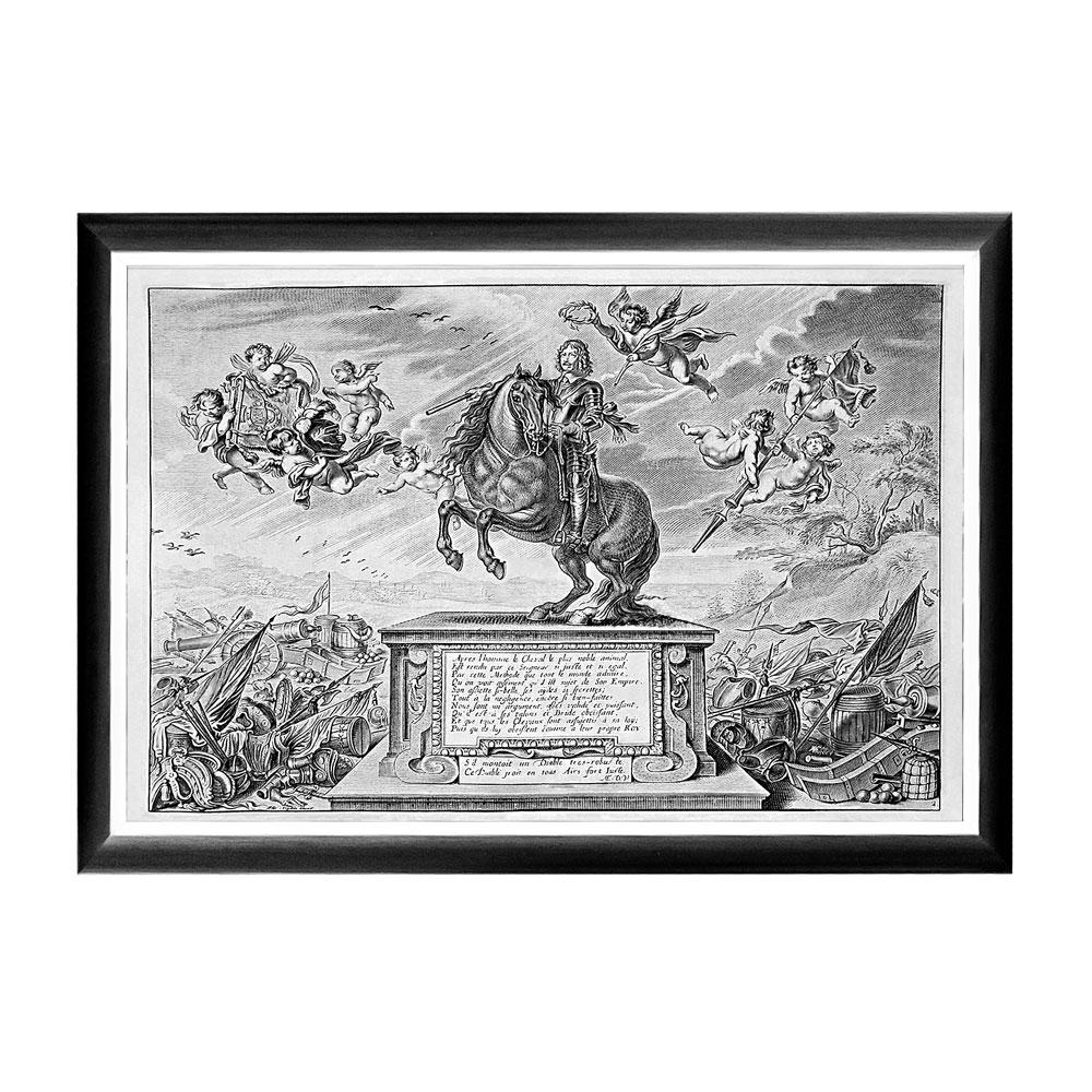 Арт-постер «Новейший метод конного искусства», фронтисписПостеры<br>В центре арт-постера «Новейший метод конного искусства» - конный памятник Уильяму Кавендишу (1592-1676), - Герцогу Ньюкасл и полководцу времен Гражданской войны. Этот постер будет уместен на стене над диваном или кроватью, около обеденного стола, в торце коридора или даже на лестнице. Контрастная черно-белая рама внушает однотонным гравюрам особую выразительность.  Изображение защищено стеклопластиком, стойким к микроцарапинам и помутнению.&amp;lt;div&amp;gt;&amp;lt;br&amp;gt;&amp;lt;/div&amp;gt;&amp;lt;div&amp;gt;Материал: рама - багет из полистирола, защитный слой - прозрачный пластик, изображение – дизайнерская бумага&amp;lt;br&amp;gt;&amp;lt;/div&amp;gt;<br><br>Material: Бумага<br>Width см: 66<br>Depth см: 2<br>Height см: 45