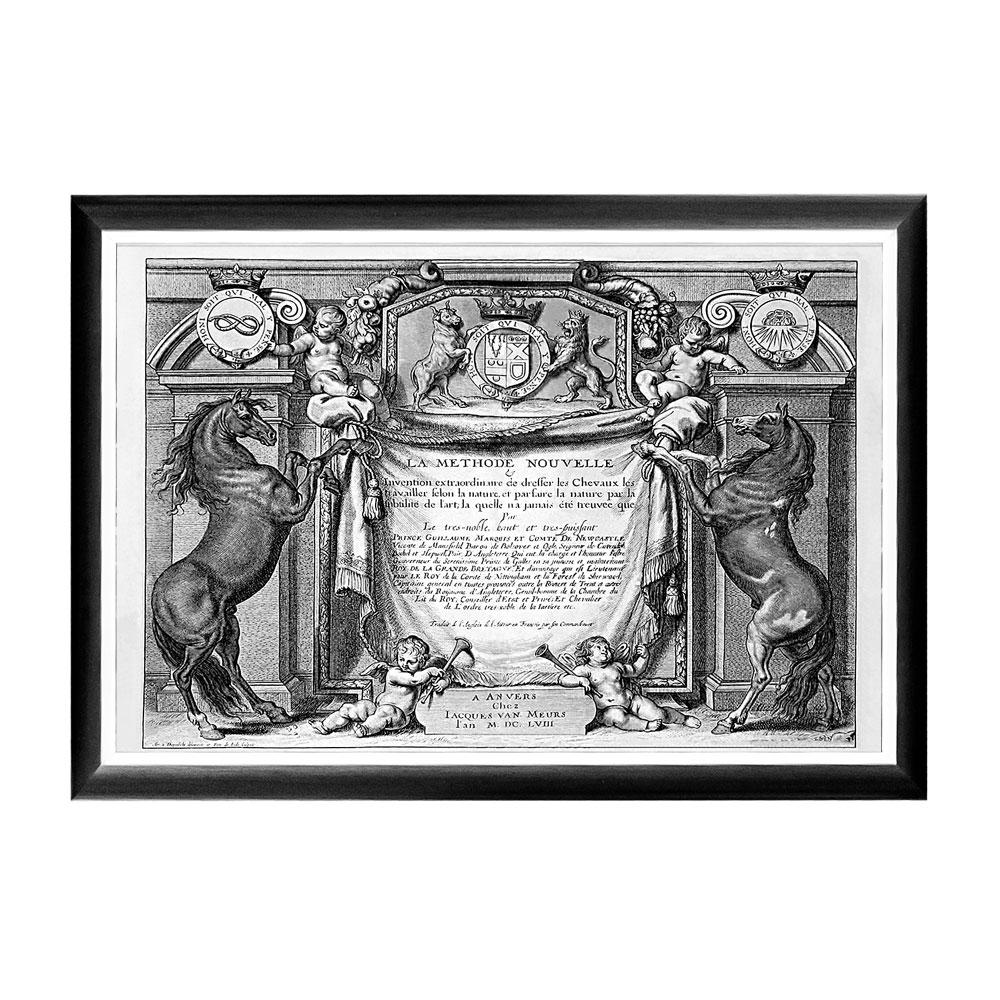 Арт-постер «Новейший метод конного искусства», титульный листПостеры<br>Перед Вами арт-постер «Новейший метод конного искусства» - титульный лист первого издания книги &amp;quot;Новый метод и чрезвычайное новшество в управлении лошадьми», опубликованного в 1658 году в Антверпене. Этот постер поможет добиться авторского интерьерного эффекта, будто бы созданного художником по нашему персональному заказу. Контрастная черно-белая рама внушает однотонным гравюрам особую выразительность. Изображение защищено стеклопластиком, стойким к микроцарапинам и помутнению.&amp;lt;div&amp;gt;&amp;lt;br&amp;gt;&amp;lt;/div&amp;gt;&amp;lt;div&amp;gt;Материал: рама - багет из полистирола, защитный слой - прозрачный пластик, изображение – дизайнерская бумага&amp;lt;br&amp;gt;&amp;lt;/div&amp;gt;<br><br>Material: Бумага<br>Width см: 66<br>Depth см: 2<br>Height см: 45