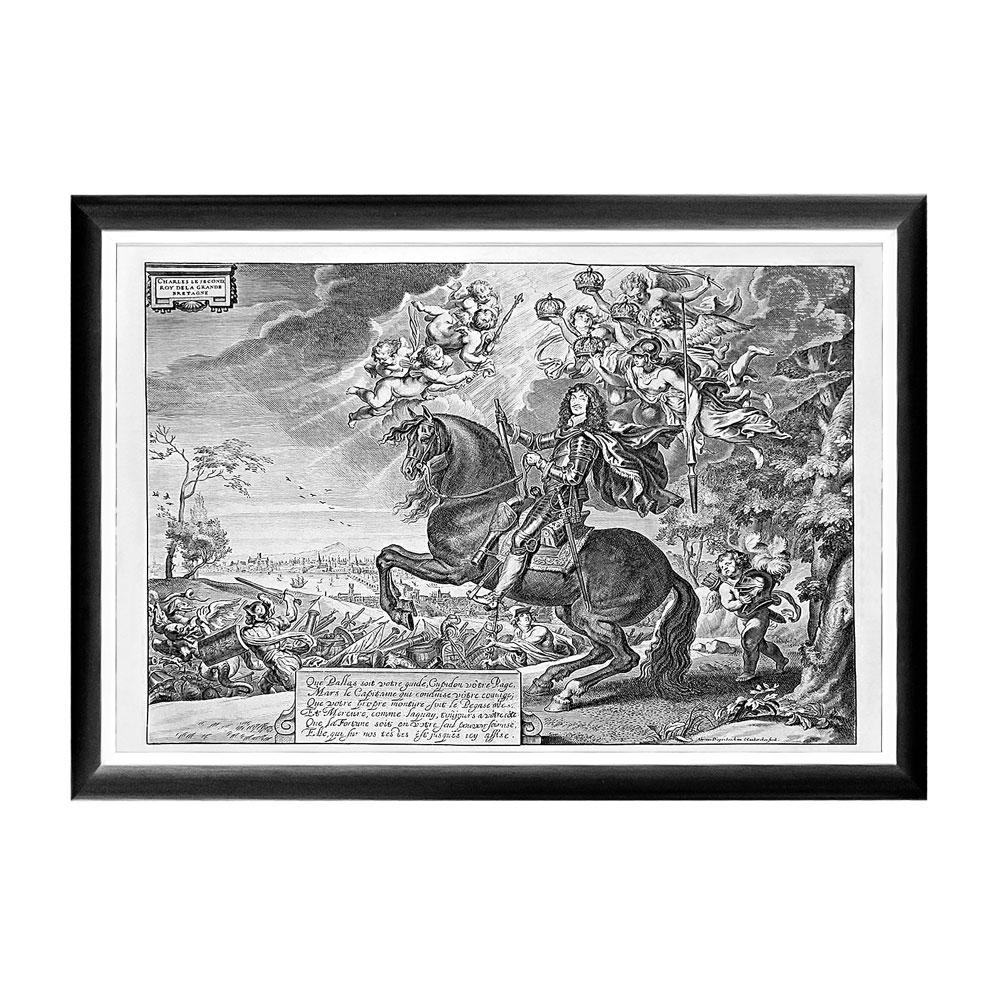 Арт-постер «Карл II, король Англии»Постеры<br>На арт-постере изображен английский король Карлу II (1630-850 в окружении мифологических персонажей, среди которых - боги Афина и Меркурий. Этот постер способен с первого взгляда заявить наше альтер-эго. Добиться эффекта позволит неожиданное совмещение контрастных эпох, цветов и материалов. Лаконичная черно-белая рама внушает однотонной гравюре особую выразительность. Изображение защищено стеклопластиком, стойким к микроцарапинам и помутнению.&amp;lt;div&amp;gt;&amp;lt;br&amp;gt;&amp;lt;/div&amp;gt;&amp;lt;div&amp;gt;Материал: рама - багет из полистирола, защитный слой - прозрачный пластик, изображение – дизайнерская бумага&amp;lt;br&amp;gt;&amp;lt;/div&amp;gt;<br><br>Material: Бумага<br>Width см: 66<br>Depth см: 2<br>Height см: 45