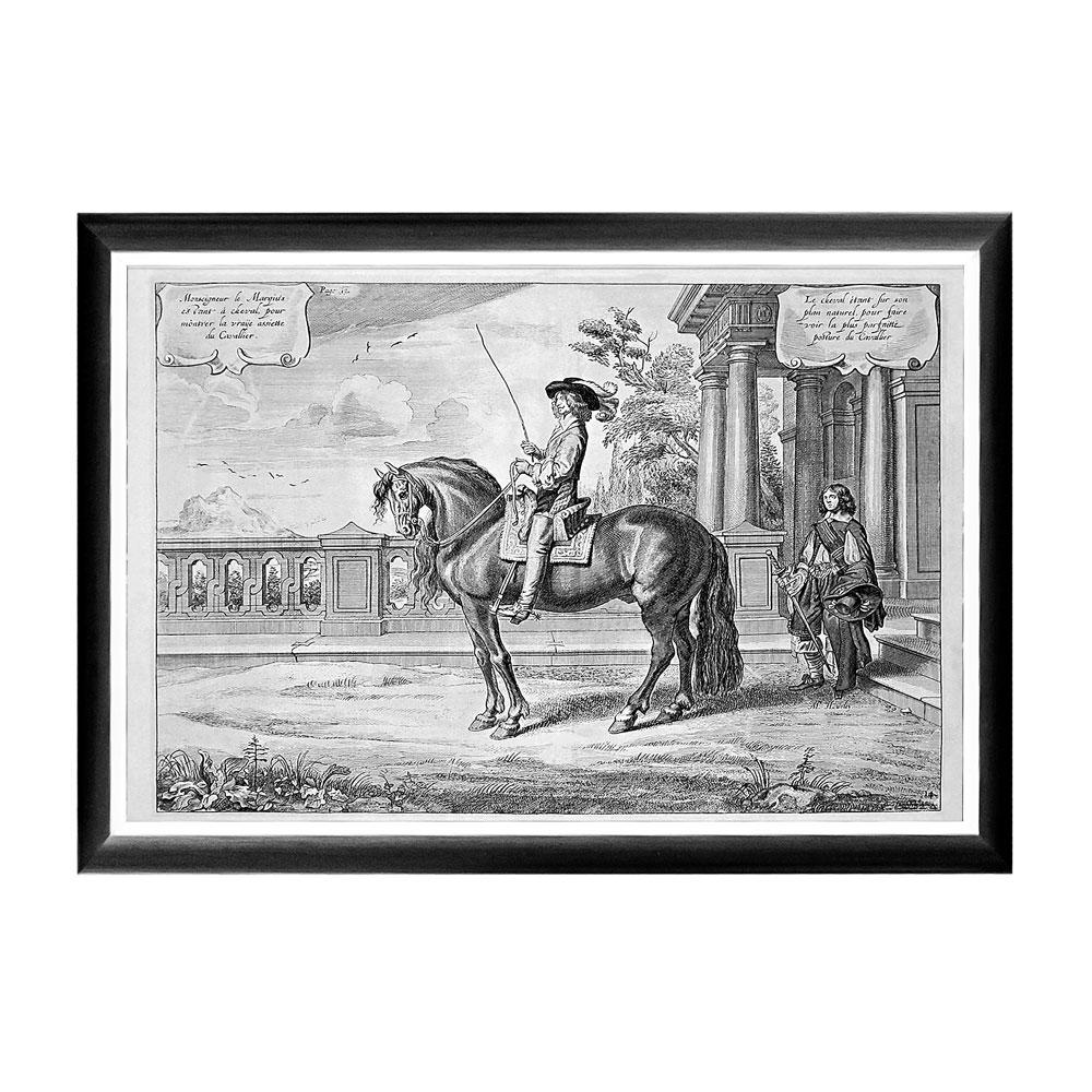 Арт-постер «Новейший метод конного искусства», гравюра 1Постеры<br>Арт-постер посвящен  Уильяму Кавендишу (1592-1676), - бывшему Герцогу Ньюкасл и полководцу времен Гражданской войны, который прославился собственными новейшими методами верховой езды. Арт-постеры – один из самый простых, но самых надежных способов изменить интерьер, задавая пространству абсолютно новое измерение. Контрастная черно-белая рама внушает однотонным гравюрам особую выразительность. Изображение защищено стеклопластиком, стойким к микроцарапинам и помутнению.&amp;lt;div&amp;gt;&amp;lt;br&amp;gt;&amp;lt;/div&amp;gt;&amp;lt;div&amp;gt;Материал: рама - багет из полистирола, защитный слой - прозрачный пластик, изображение – дизайнерская бумага&amp;lt;br&amp;gt;&amp;lt;/div&amp;gt;<br><br>Material: Бумага<br>Ширина см: 66<br>Высота см: 45<br>Глубина см: 2