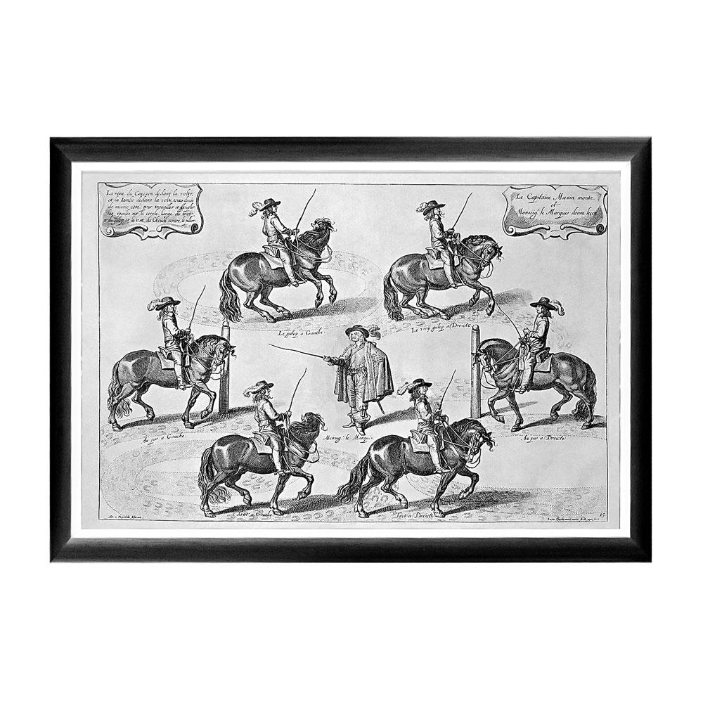 Арт-постер «Новейший метод конного искусства», гравюра 2Постеры<br>На арт-постере «Новейший метод конного искусства» - репродукция гравюры XVII века, демонстрирующей  сразу три урока верховой езды - шаг, рысь и кентор (или легкий галоп).  Назначение арт-постеров - не только украшать помещения, но и афишировать эстетический кругозор и собственно стиль жизни.   Контрастная черно-белая рама внушает однотонным гравюрам особую выразительность. Изображение защищено стеклопластиком, стойким к микроцарапинам и помутнению.<br><br>Material: Бумага<br>Ширина см: 66.0<br>Высота см: 45.0<br>Глубина см: 2.0