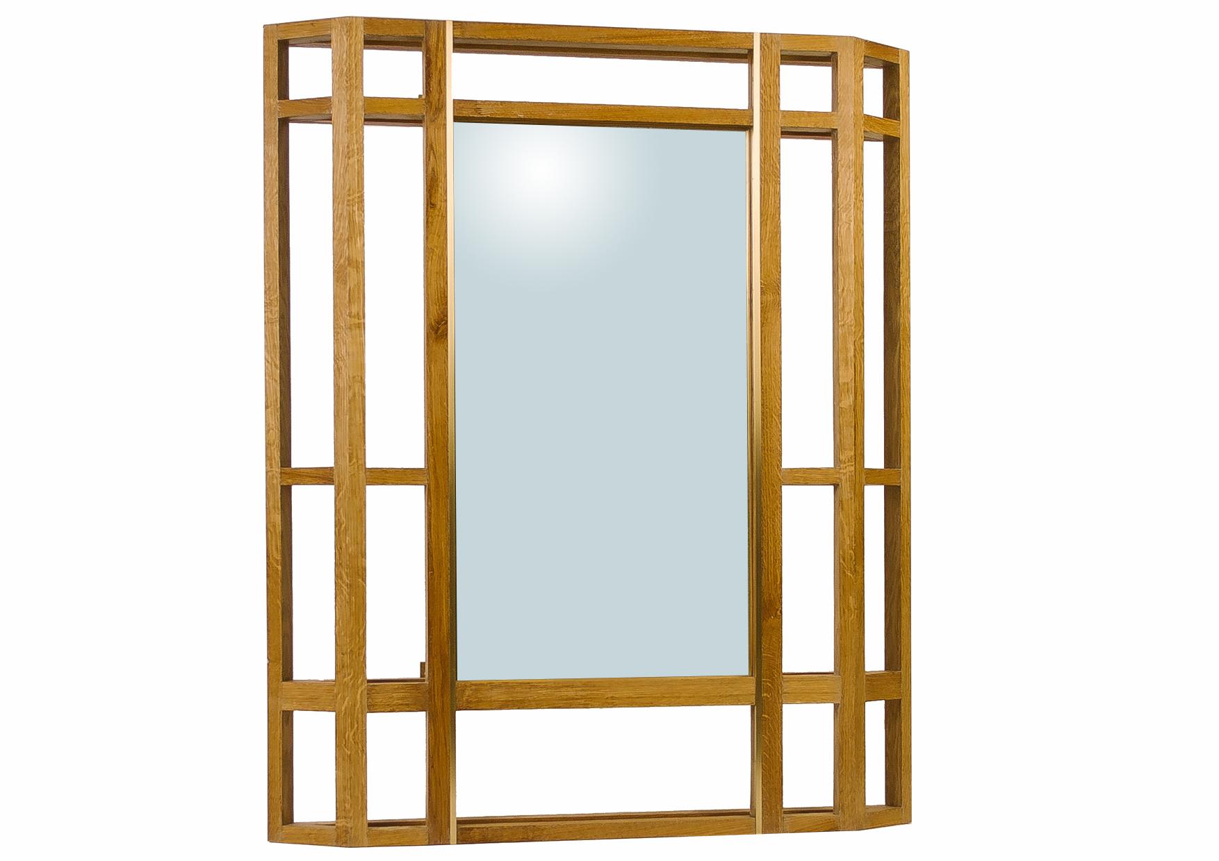 Зеркало Wallout ZeppelinНастенные зеркала<br>Зеркало из массива дуба, с элементами из массива латуни. Конструкция рамки зеркала объемная, она значительно выступает из стены, и при правильном расположении бросает красивые тени на комнату.&amp;amp;nbsp;<br><br>Material: Дуб<br>Width см: 110<br>Depth см: 10<br>Height см: 135