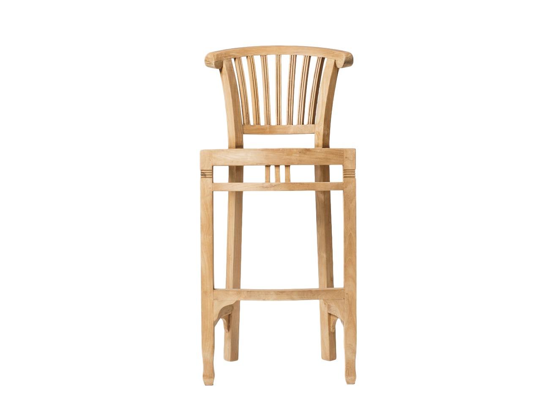 Стул барный  BigБарные стулья<br>Барный стул из массива тика, известного своей прочностью. Стул кажется непривычным по сравнению с современными хромированными барными стульями на одной ножке, тем не менее первые барные стулья были именно такими: на четырех ножках, с высокой спинкой.<br><br>Material: Тик<br>Ширина см: 41<br>Высота см: 110<br>Глубина см: 46