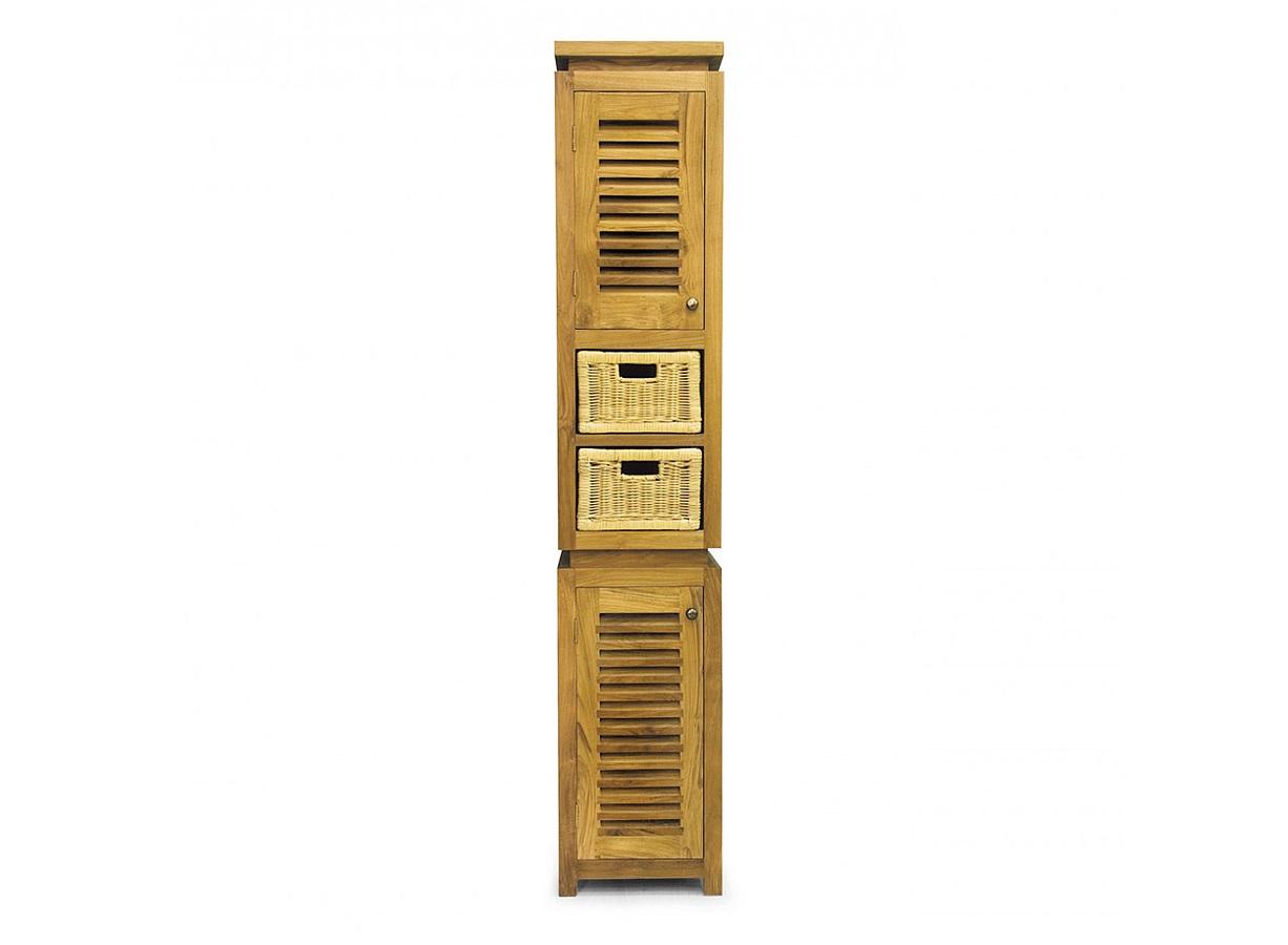 Колонка LombokКолонки для ванной<br>Компактная (всего 35 см в глубину и ширину) колонка не займет много места даже в небольшом по площади помещении и при этом будет очень функциональной. Дверцы шкафчиков напоминают деревянные ставни в окнах домов в жарких странах, а ящики из ротанга завершают картину &amp;quot;летнего&amp;quot; образа этого предмета, который идеально впишется в пространство загородного дома и в городской интерьер в стиле кантри.<br><br>Material: Тик<br>Length см: None<br>Width см: 35.0<br>Depth см: 35.0<br>Height см: 190.0<br>Diameter см: None