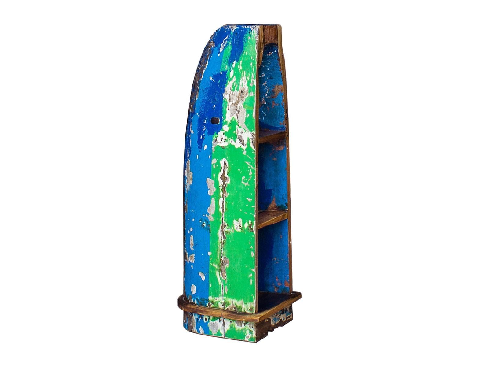 Лодка-стеллаж БэнксиСтеллажи и этажерки<br>Напольный стеллаж, выполненный из старой рыбацкой лодки изящной вытянутой формы с сохранением оригинальной многослойной окраски.<br><br>Имеет 3 полки разной вместимости.<br>Подходит для использования как внутри помещения, так и снаружи.<br>Сборка не требуется.<br><br>Material: Тик<br>Ширина см: 40<br>Высота см: 122<br>Глубина см: 40