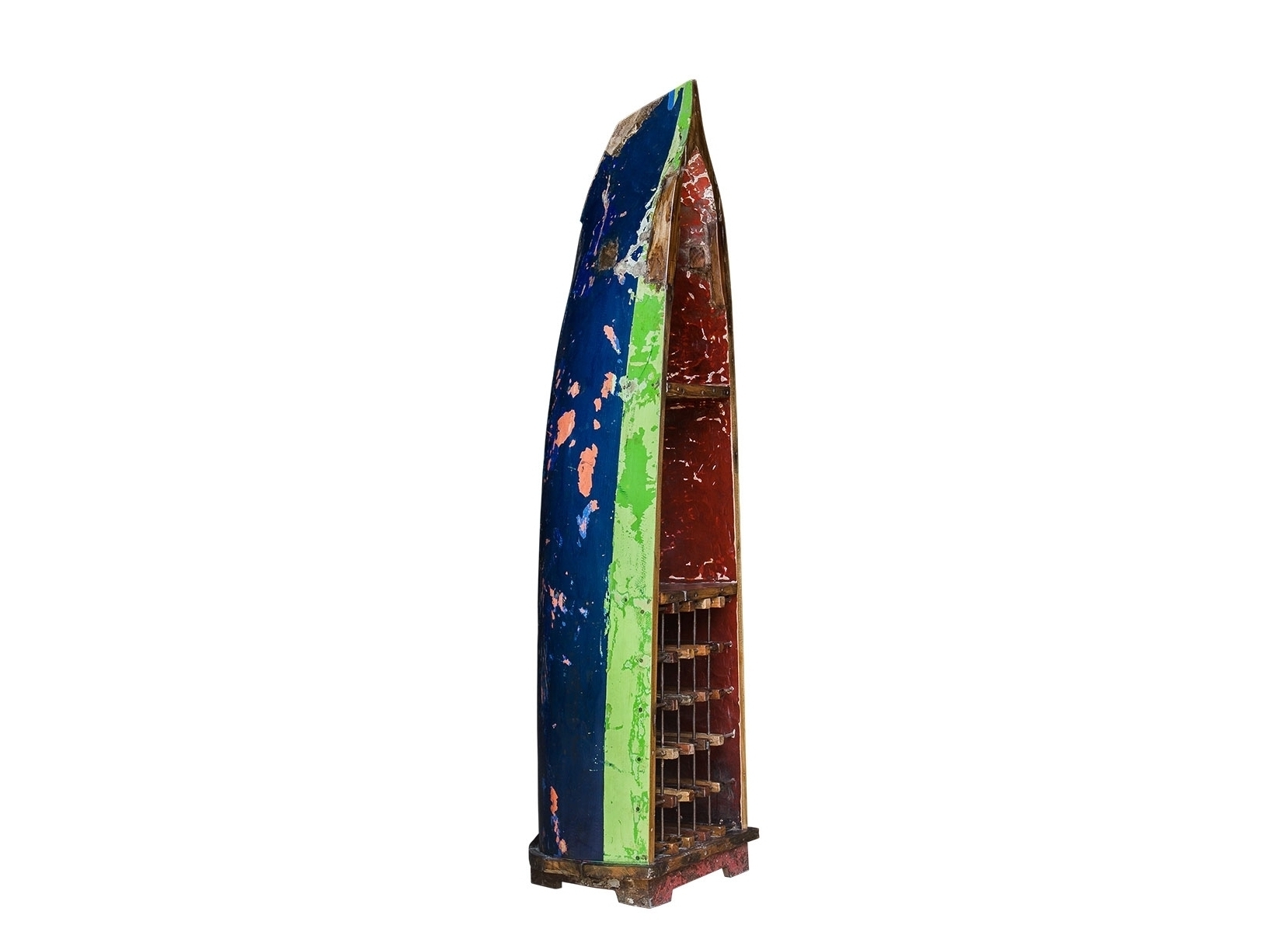 Лодка для вина БарбароссаВинные стеллажи<br>Винный шкаф, выполненный из старой рыбацкой лодки классической правильной формы с сохранением оригинальной многослойной окраски.<br>Хранит до 15 бутылок. <br>Подходит для использования как внутри помещения, так и снаружи.&amp;amp;nbsp;&amp;lt;div&amp;gt;&amp;lt;br&amp;gt;&amp;lt;/div&amp;gt;&amp;lt;div&amp;gt;Покрытие: шеллак&amp;amp;nbsp;&amp;lt;/div&amp;gt;&amp;lt;div&amp;gt;Материал: массив тика (махогони, суара)&amp;lt;/div&amp;gt;<br><br>Material: Тик<br>Width см: 51<br>Depth см: 63<br>Height см: 222