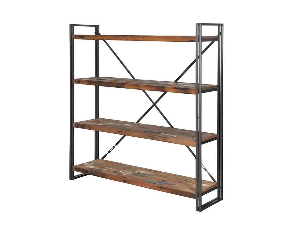 Стеллаж FermСтеллажи и этажерки<br>Стеллаж из Индонезии в стиле лофт из деревянных полочек с металлическим каркасом. Оригинальные надписи на дереве создают ощущение заморской посылки, связанной металлическими лесками в иксообразной форме.<br><br>Material: Тик<br>Length см: None<br>Width см: 160.0<br>Depth см: 40.0<br>Height см: 210.0<br>Diameter см: None