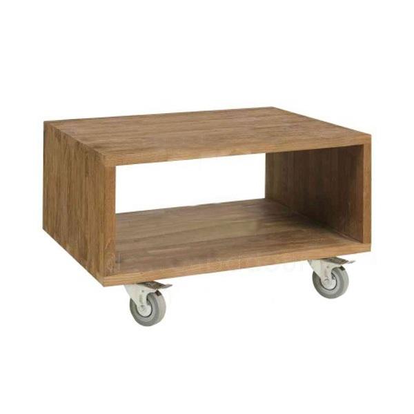 Столик Fissure 55Приставные столики<br>Небольшой столик простого лаконичного дизайна из фактурного красивого тикового дерева. Столик оснащен небольшими колесиками для удобства перемещения.<br><br>Material: Тик<br>Ширина см: 55<br>Высота см: 45<br>Глубина см: 35