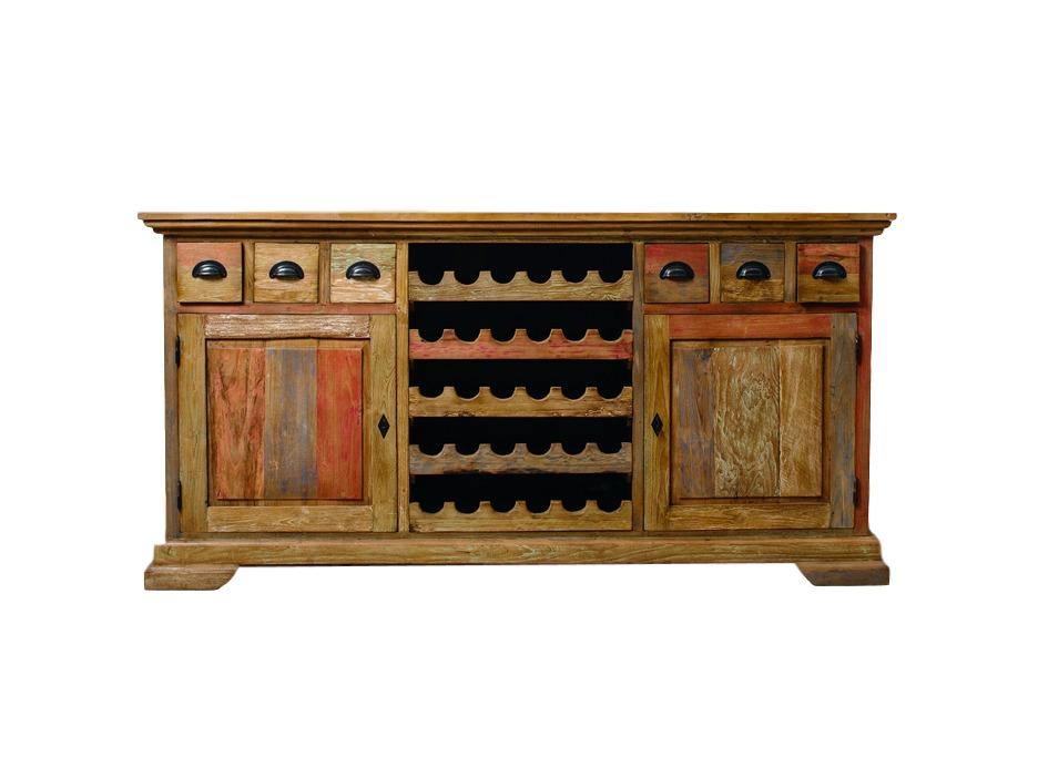 Буфет с винной стойкой  Bacchus (painted)Низкие буфеты<br>Массивный буфет, с винной стойкой посередине и шестью ящиками. Антикварный тик на лицевых панелях и вариация покрытия painted сделают его украшение любой обеденной зоны или кухни. Возможна в вариации rustic.<br><br>Material: Тик<br>Ширина см: 200<br>Высота см: 100<br>Глубина см: 50