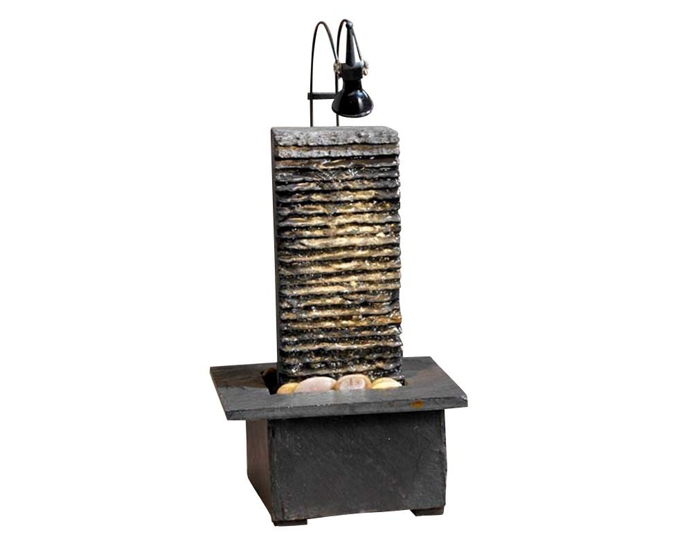 ФонтанДругое<br>Декоративный фонтан из натурального сланца с декоративными речными камешками. Сверху расположена галогенная подсветка. Оборудован электронасосом для воды IPX8 12v 2,5w.&amp;lt;div&amp;gt;&amp;lt;br&amp;gt;&amp;lt;/div&amp;gt;&amp;lt;div&amp;gt;&amp;lt;div&amp;gt;Тип цоколя: GU4&amp;lt;/div&amp;gt;&amp;lt;div&amp;gt;Мощность: 10W&amp;lt;/div&amp;gt;&amp;lt;div&amp;gt;Кол-во ламп: 1 (в комплекте)&amp;lt;/div&amp;gt;&amp;lt;/div&amp;gt;<br><br>Material: Камень<br>Ширина см: 20<br>Высота см: 33<br>Глубина см: 20
