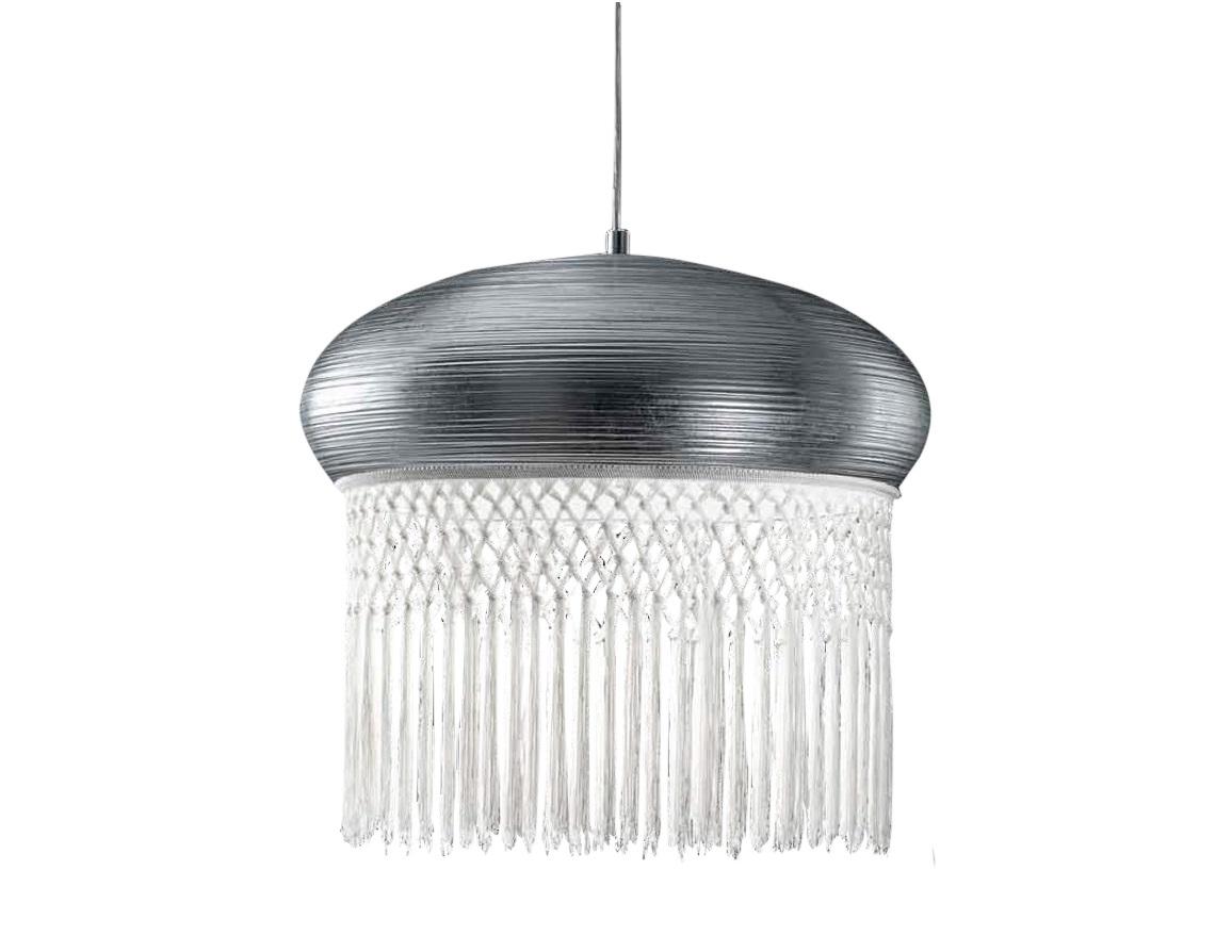 Подвесной светильникПодвесные светильники<br>Подвесной светильник из коллекции Curtain на металлической арматуре. Плафон с белой бахромой выполнен из металла серебряного цвета. Высота светильника регулируется.&amp;lt;div&amp;gt;&amp;lt;br&amp;gt;&amp;lt;/div&amp;gt;&amp;lt;div&amp;gt;&amp;lt;div&amp;gt;Тип цоколя: Е27&amp;lt;/div&amp;gt;&amp;lt;div&amp;gt;Мощность: 150W&amp;lt;/div&amp;gt;&amp;lt;div&amp;gt;Кол-во ламп: 1 (нет в комплекте)&amp;lt;/div&amp;gt;&amp;lt;/div&amp;gt;<br><br>Material: Металл<br>Height см: 52<br>Diameter см: 50