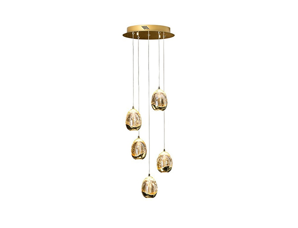 Подвесной светильникПодвесные светильники<br>Подвесной светильник из коллекции Rocio на арматуре золотого цвета. Плафоны в форме капли из массивного стекла с декоративными пузырьками внутри. Высота светильника регулируется до 150 см.&amp;lt;div&amp;gt;&amp;lt;br&amp;gt;&amp;lt;/div&amp;gt;&amp;lt;div&amp;gt;&amp;lt;div&amp;gt;Тип цоколя: LED&amp;lt;/div&amp;gt;&amp;lt;div&amp;gt;Мощность: 25W&amp;lt;/div&amp;gt;&amp;lt;div&amp;gt;Кол-во ламп: 5 (в комплекте)&amp;lt;/div&amp;gt;&amp;lt;/div&amp;gt;<br><br>Material: Металл<br>Width см: 37<br>Depth см: 37<br>Height см: 150<br>Diameter см: None